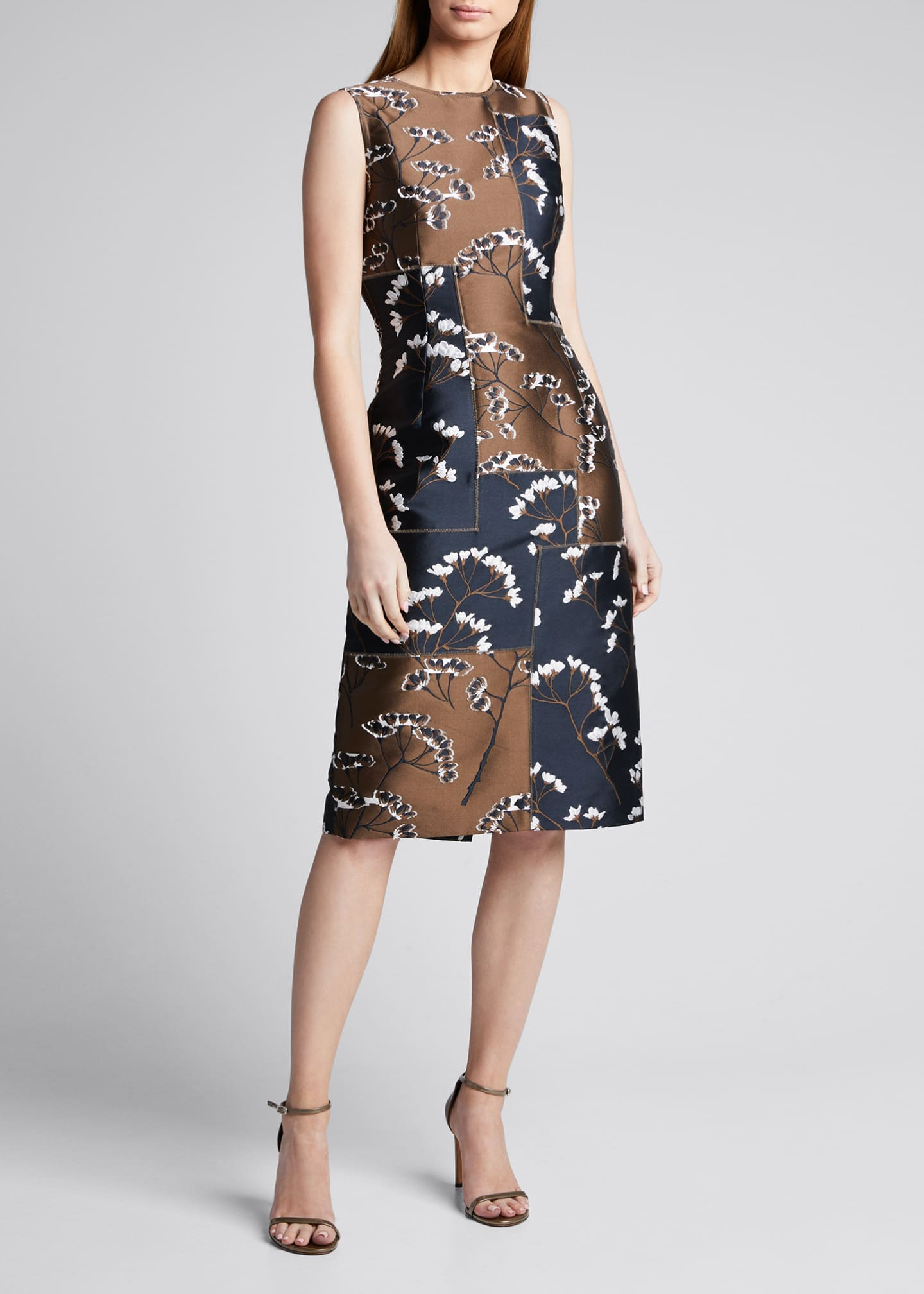 Image 3 of 5: Floral Patchwork Sleeveless Sheath Dress