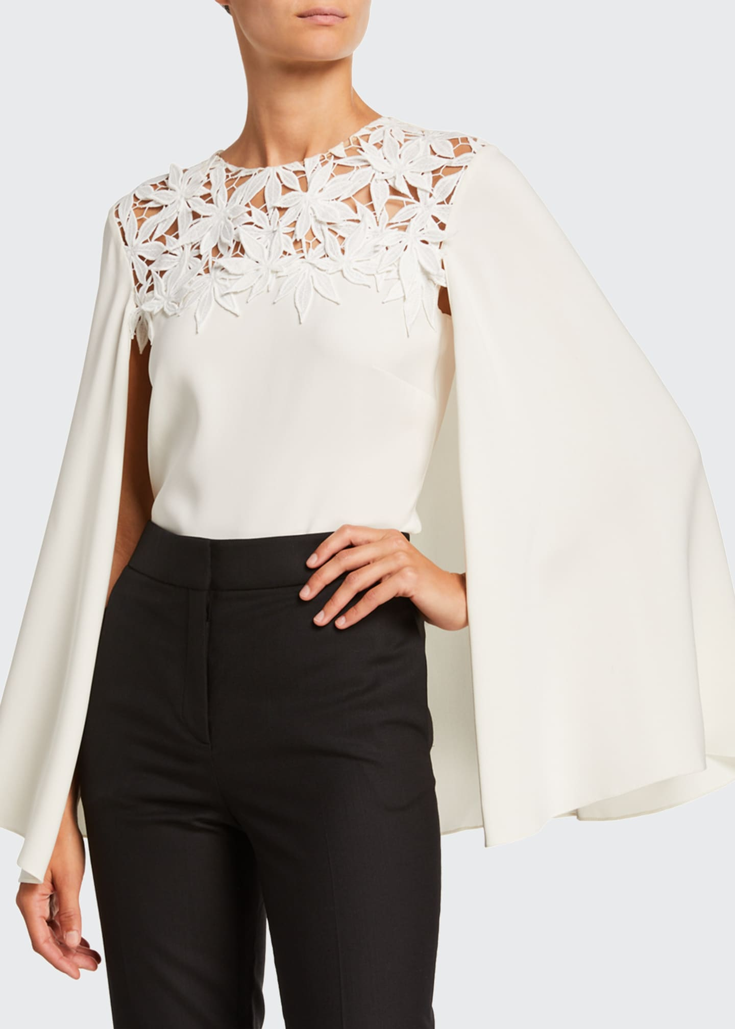Image 3 of 4: Maple Leaf Embroidered Stretch Silk Blouse w/ Cape