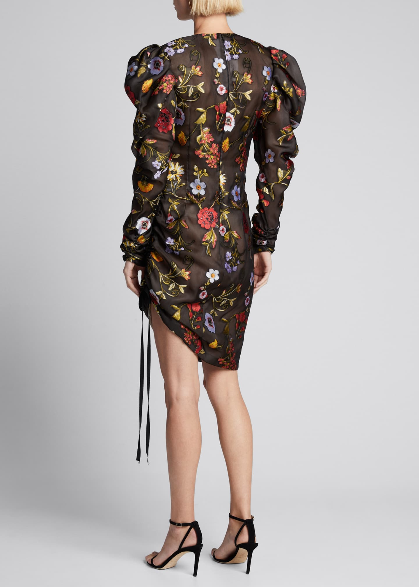 Image 2 of 5: Floral-Embroidered Puff-Sleeve Cinched Cocktail Dress