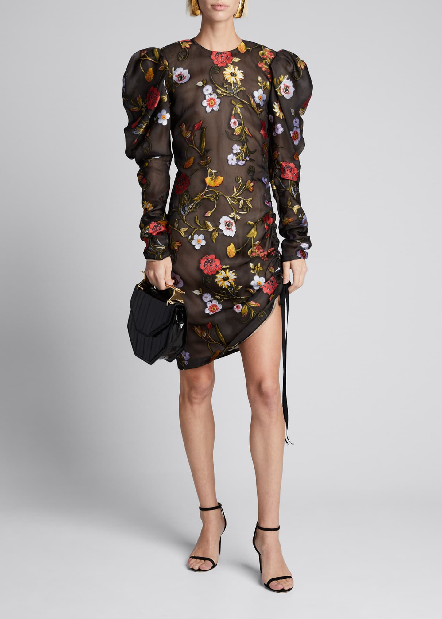 Image 3 of 5: Floral-Embroidered Puff-Sleeve Cinched Cocktail Dress