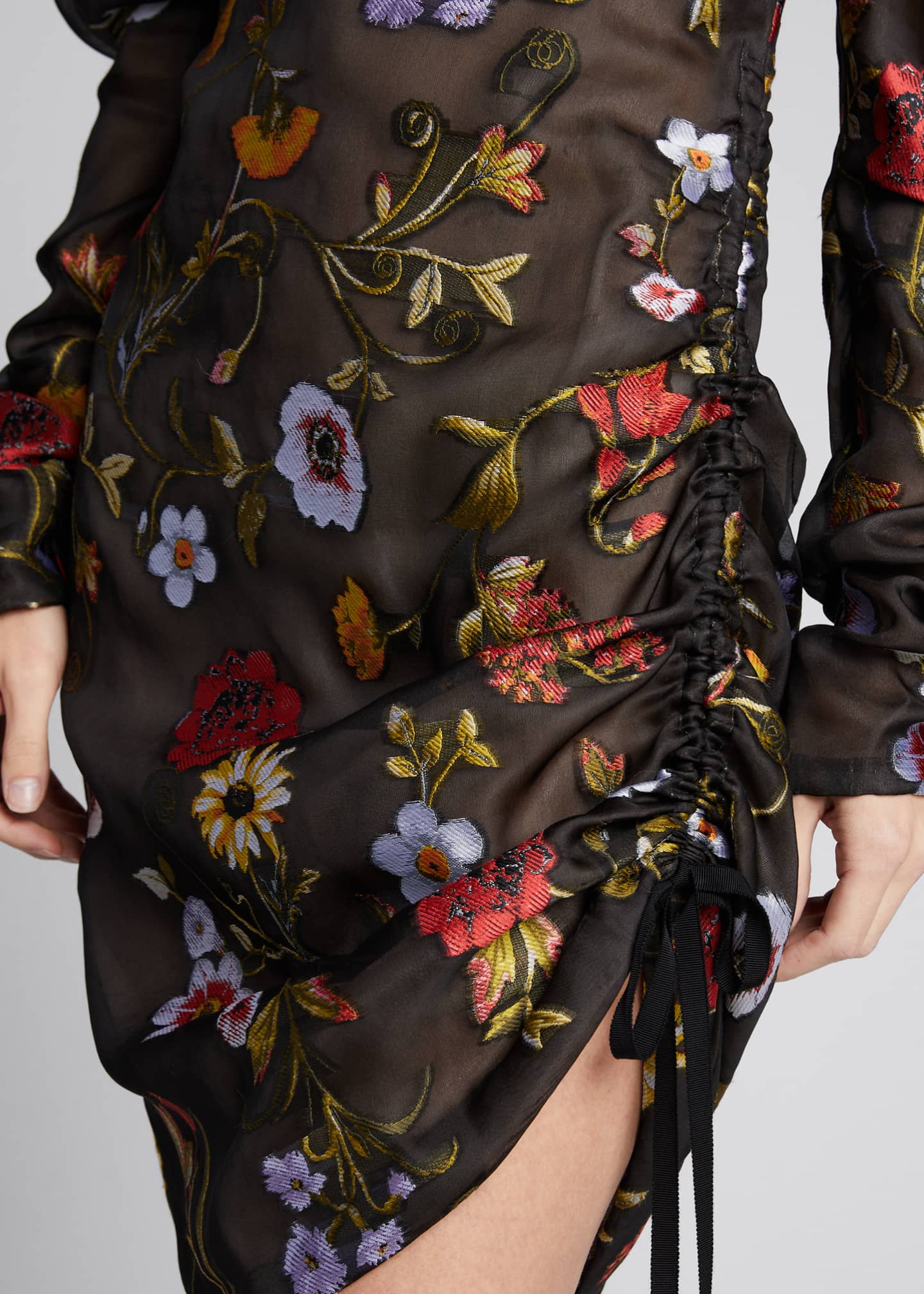 Image 4 of 5: Floral-Embroidered Puff-Sleeve Cinched Cocktail Dress