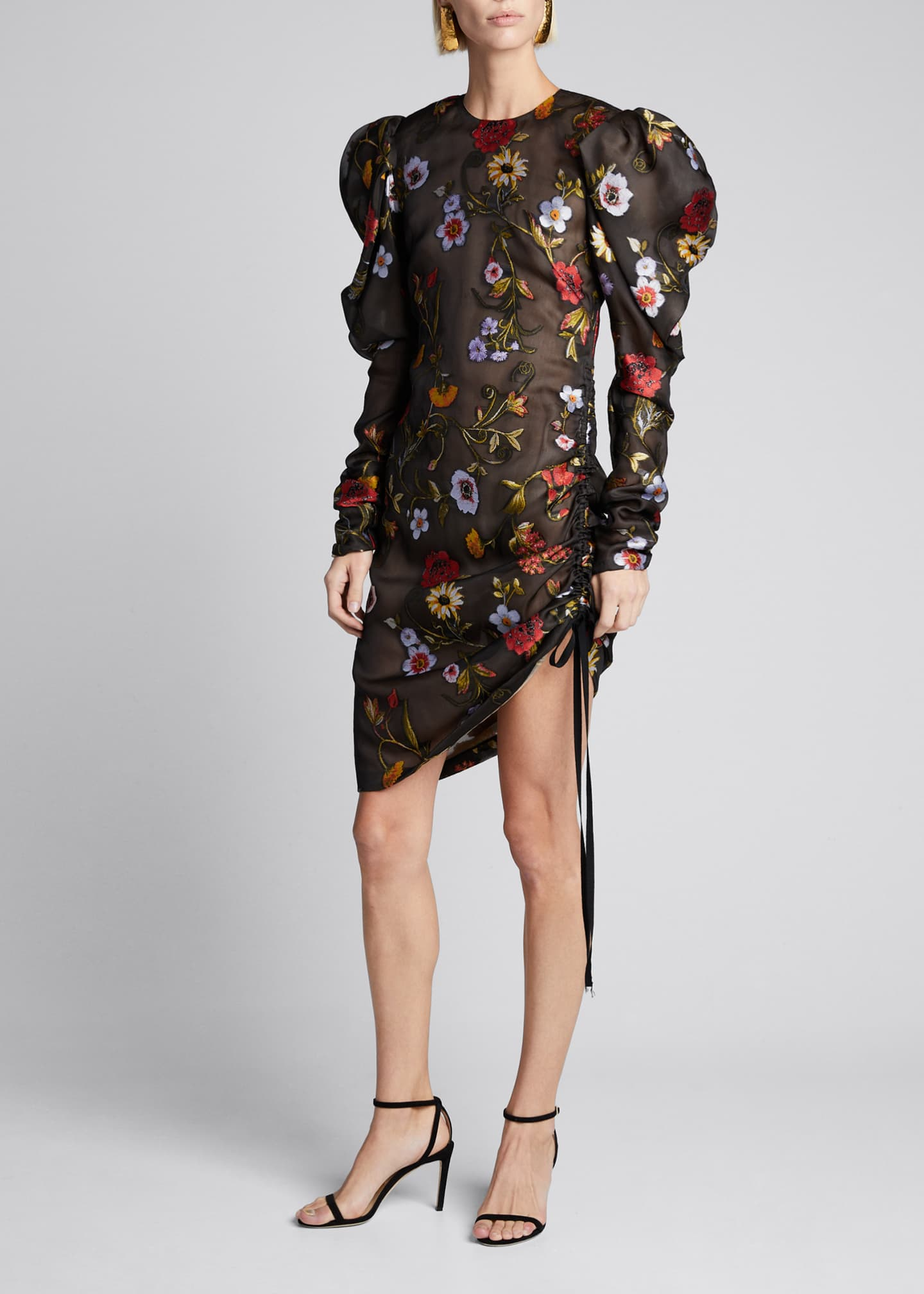Image 1 of 5: Floral-Embroidered Puff-Sleeve Cinched Cocktail Dress