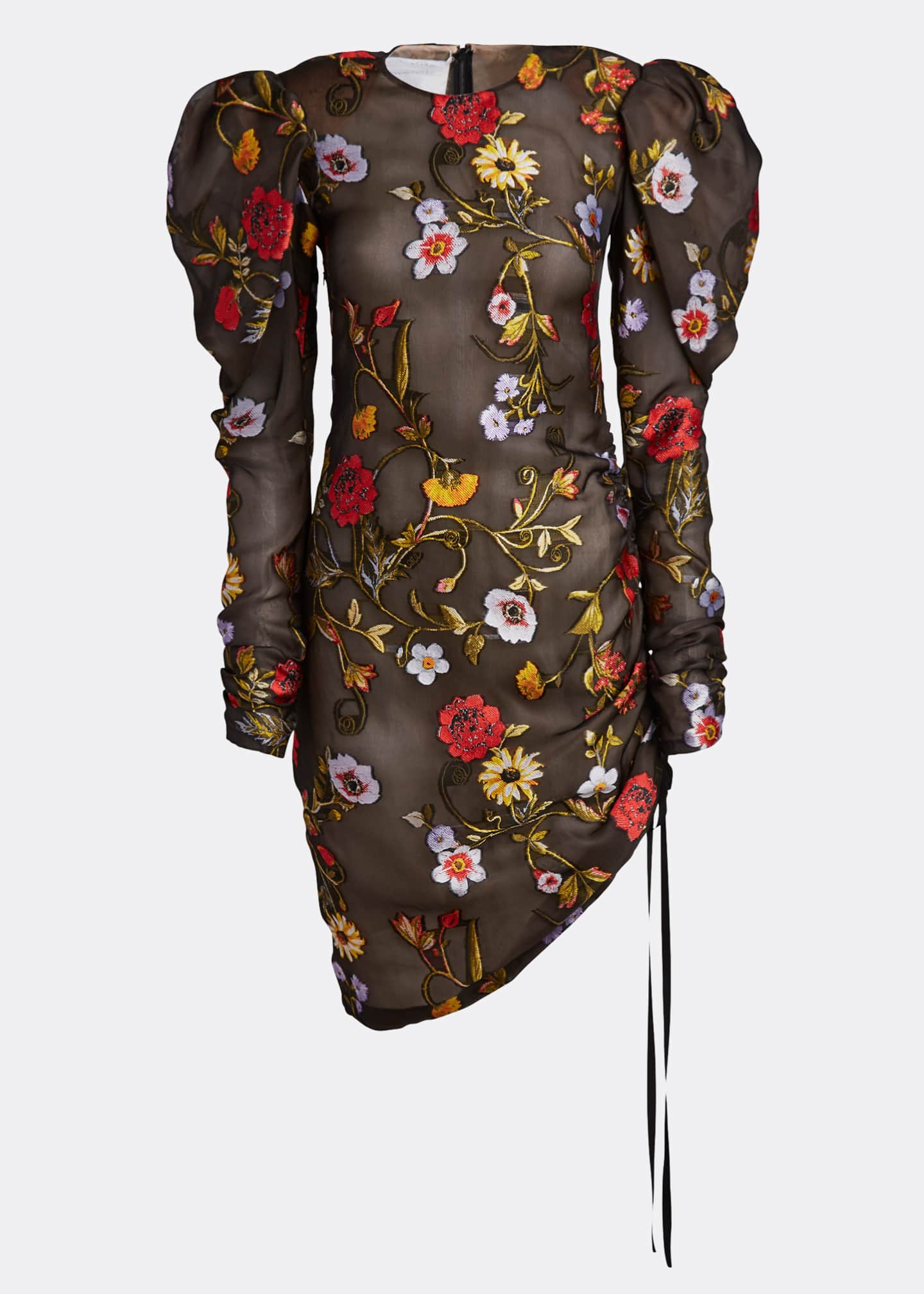 Image 5 of 5: Floral-Embroidered Puff-Sleeve Cinched Cocktail Dress