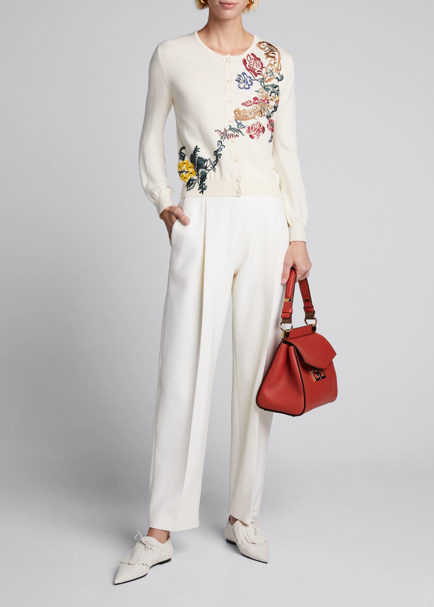 Oscar de la Renta Floral Embroidered Button Front