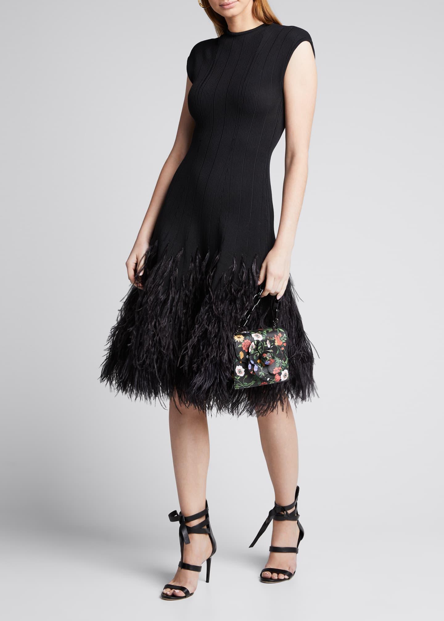 Oscar de la Renta Cap-Sleeve Knit Feathered-Skirt Cocktail