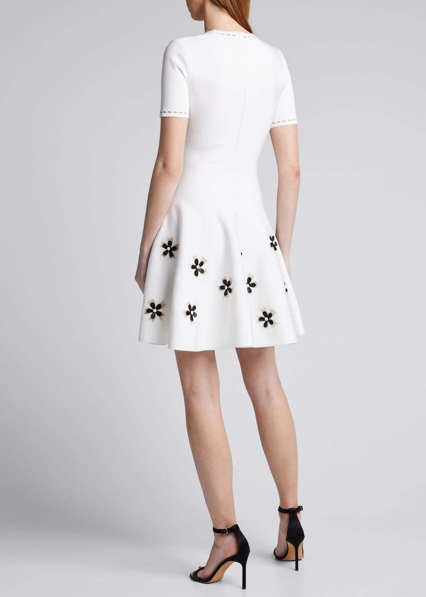 Image 2 of 5: Short-Sleeve Flower Applique Knit Dress