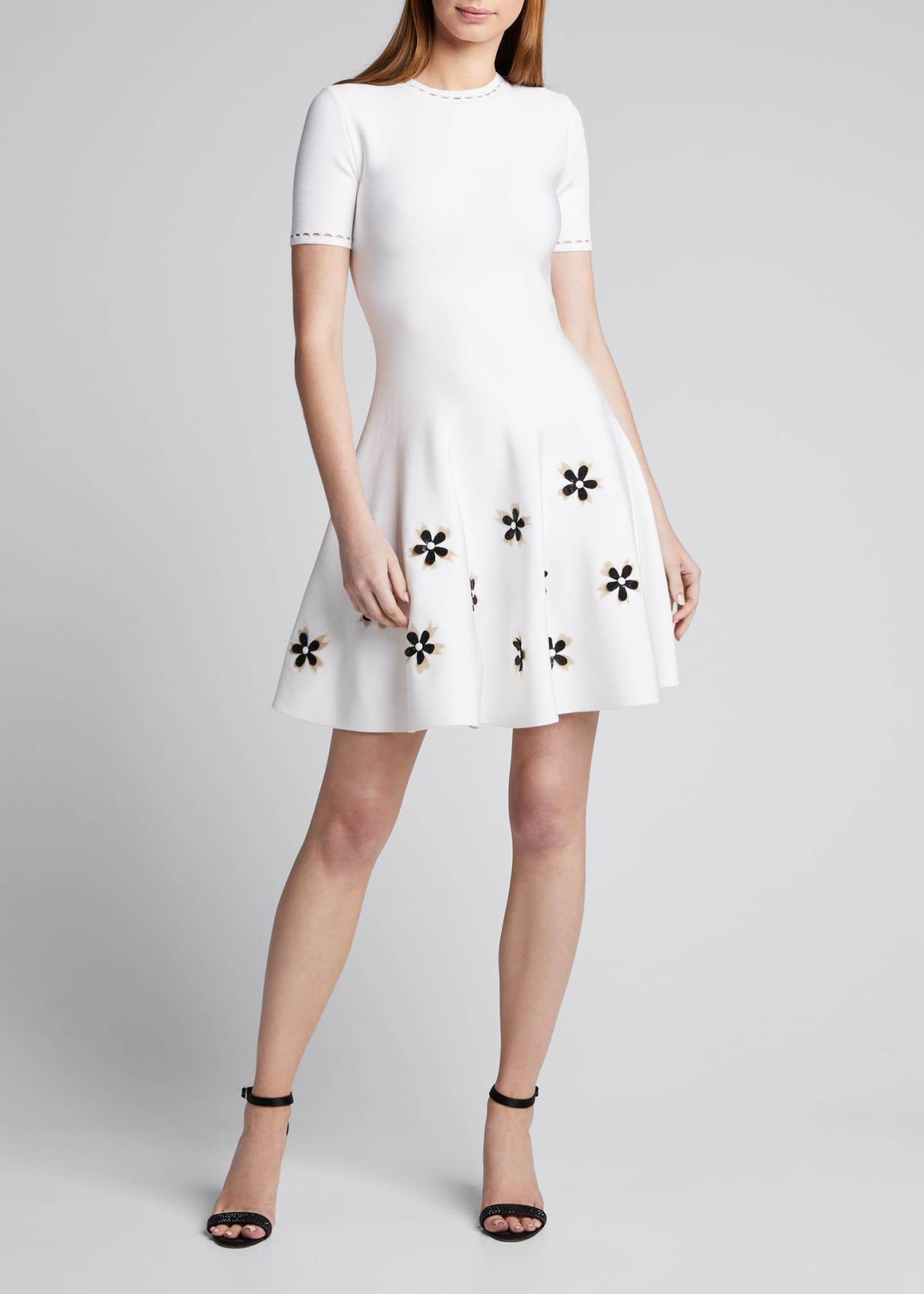 Image 3 of 5: Short-Sleeve Flower Applique Knit Dress