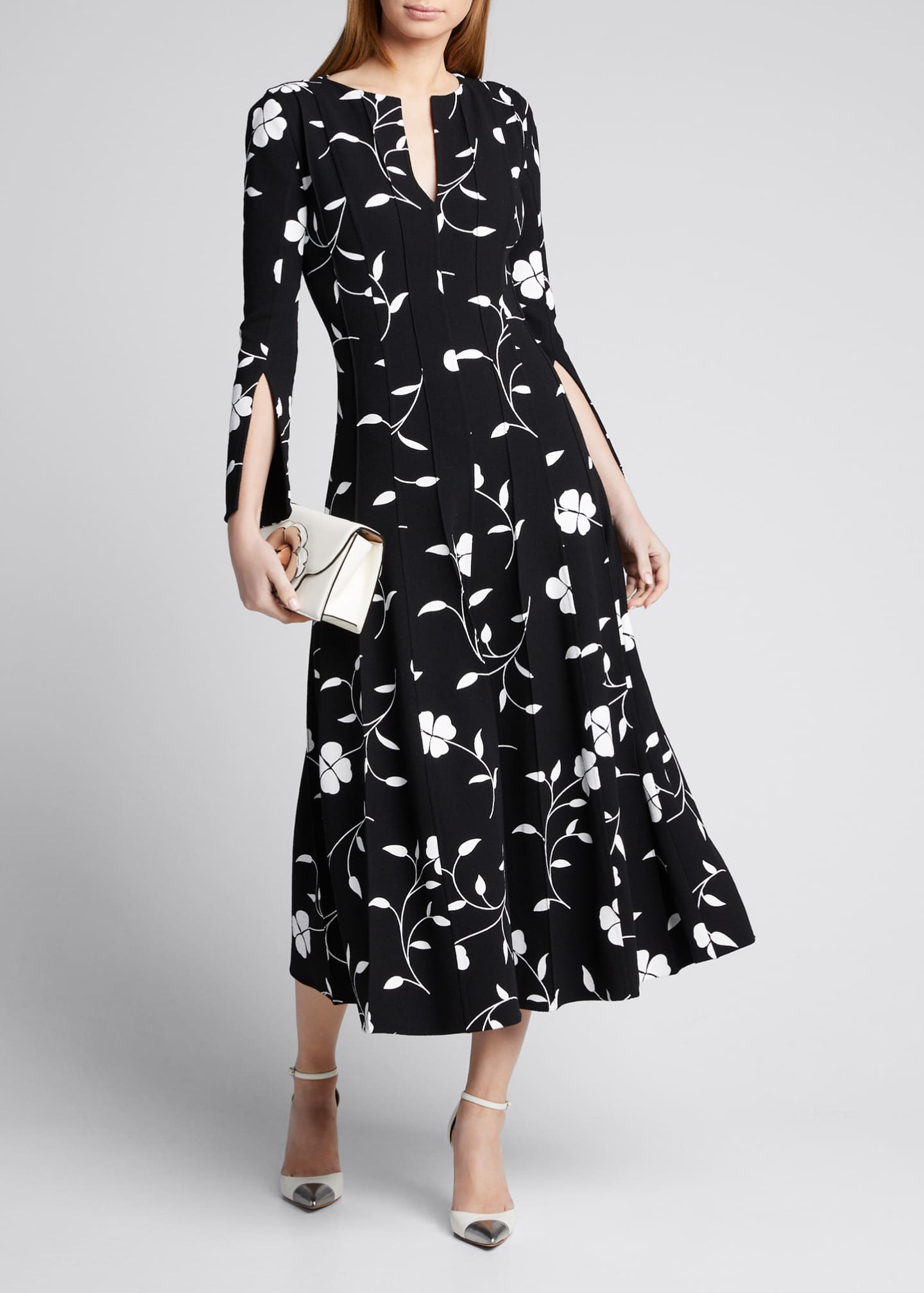 Image 1 of 5: Flower Plisse Slit Sleeve Midi Dress
