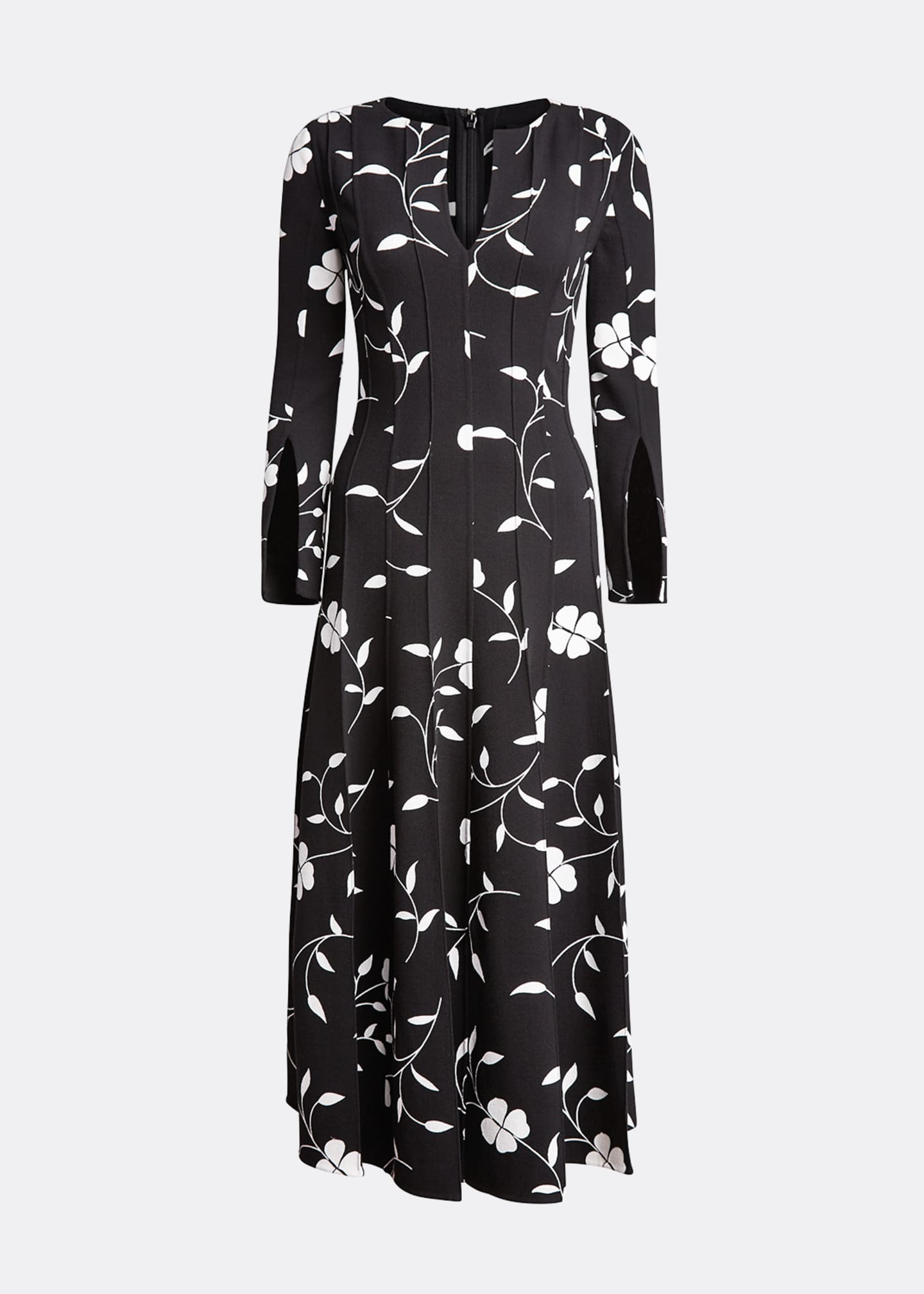 Image 5 of 5: Flower Plisse Slit Sleeve Midi Dress