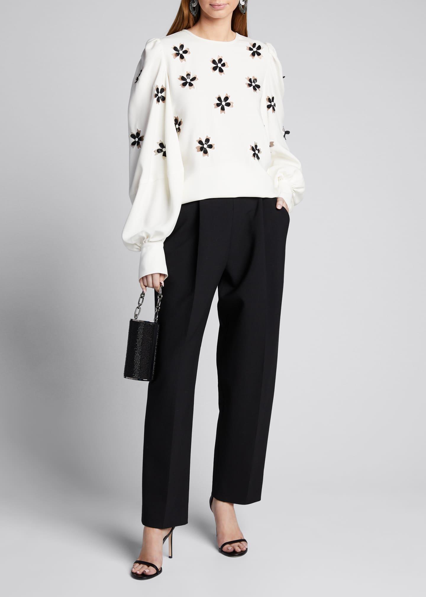 Oscar de la Renta Daisy-Embroidered Silk Puff-Sleeve Blouse
