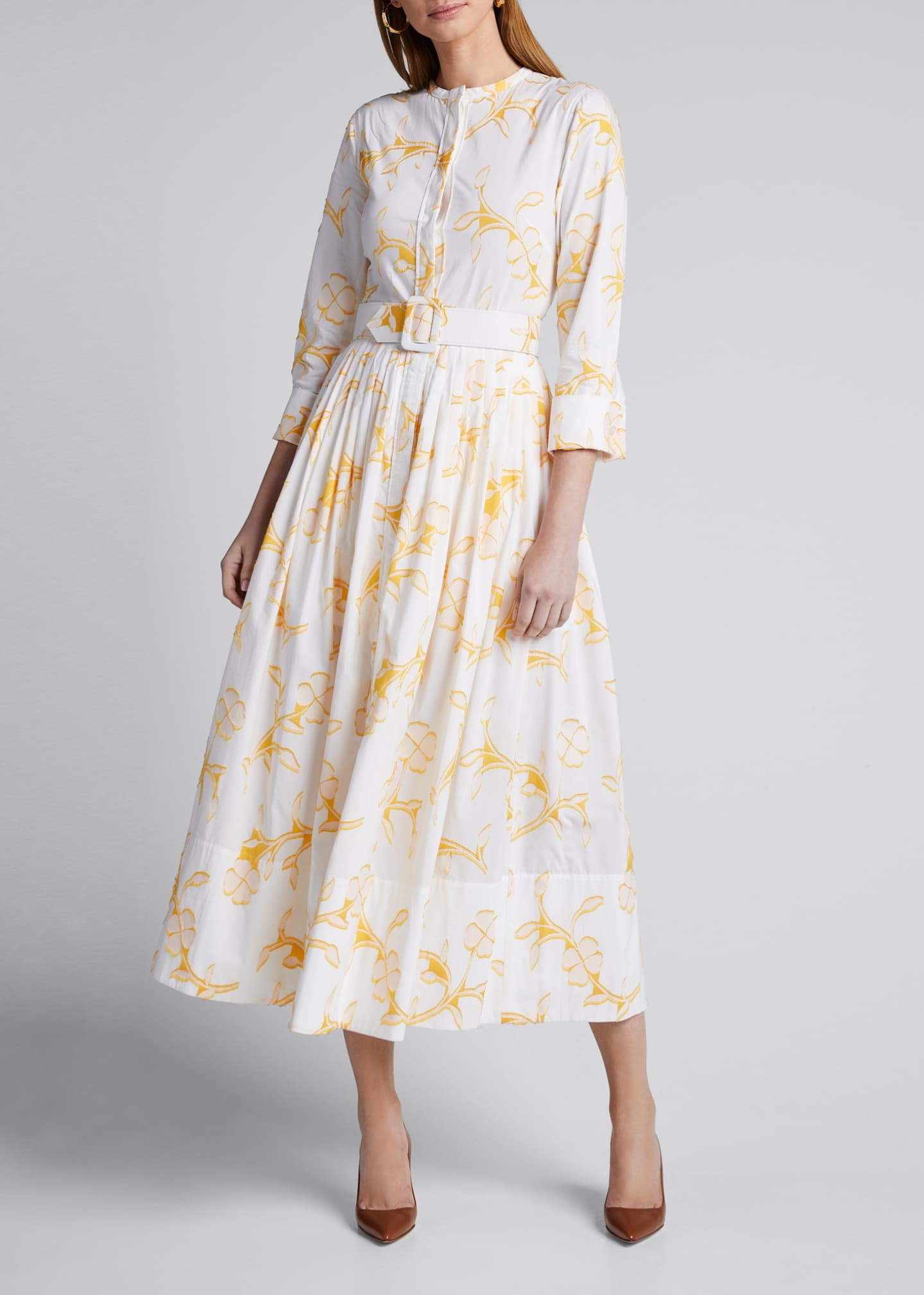 Image 3 of 5: Floral Belted Cotton Poplin Shirtdress