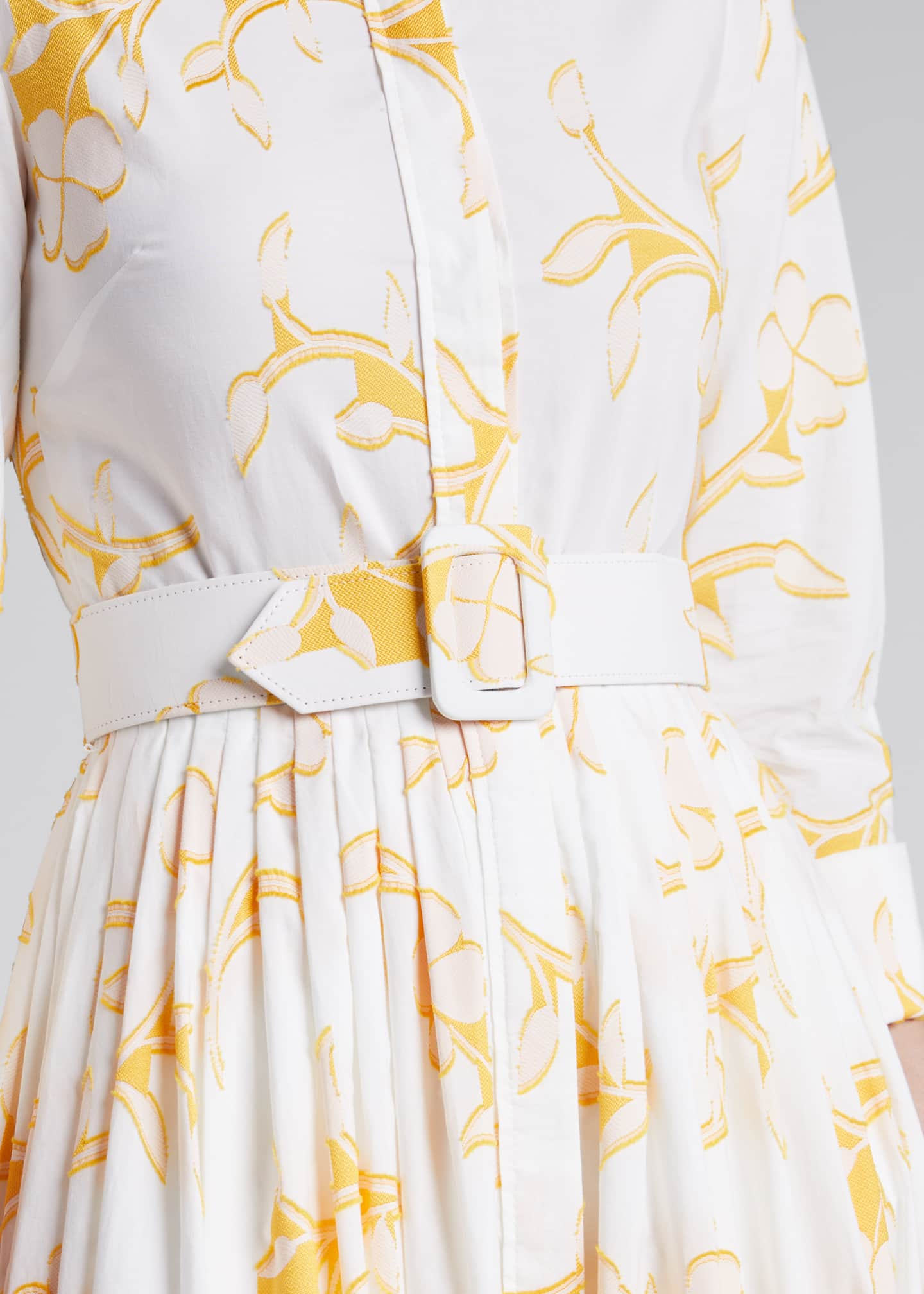Image 4 of 5: Floral Belted Cotton Poplin Shirtdress