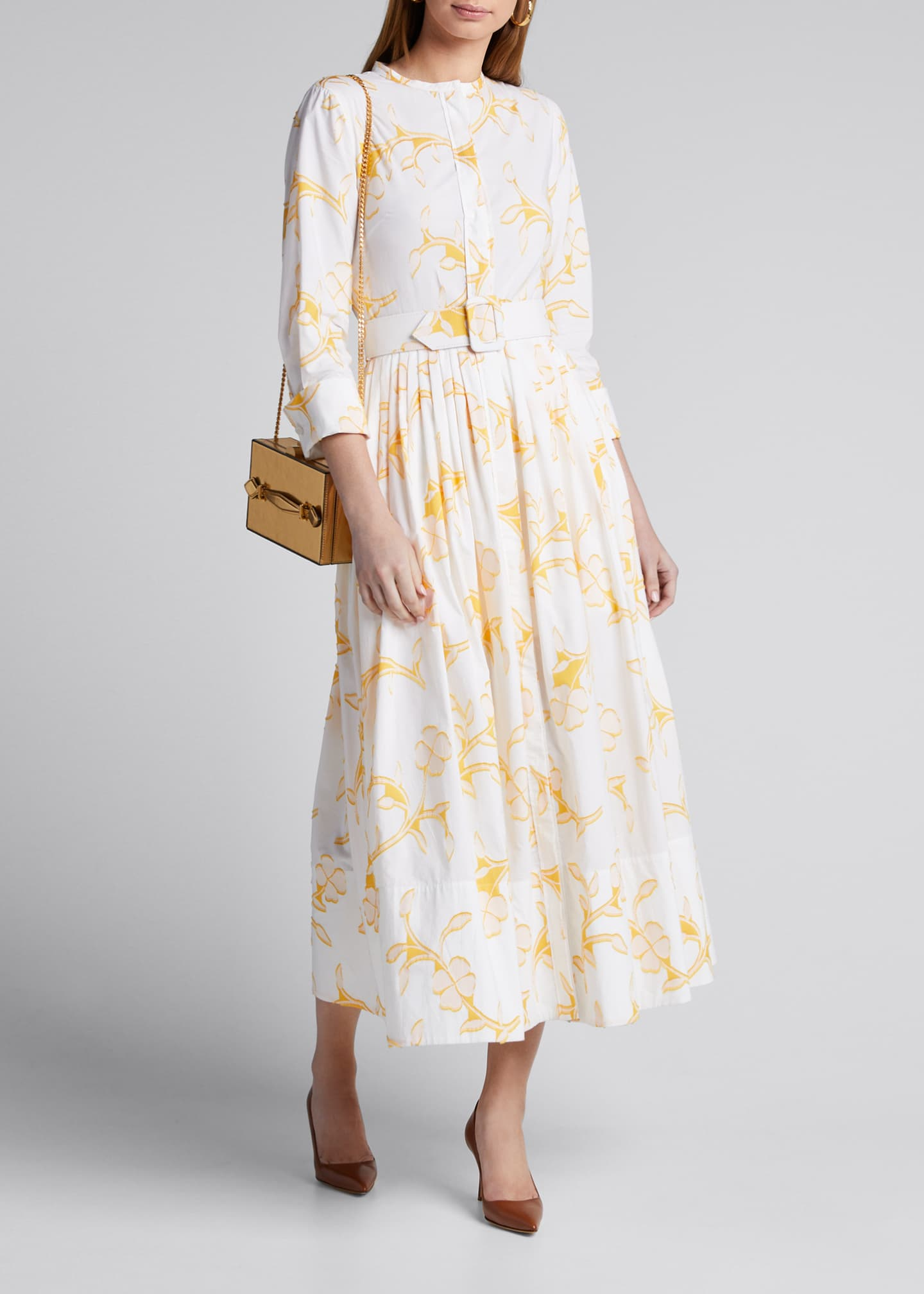 Image 1 of 5: Floral Belted Cotton Poplin Shirtdress