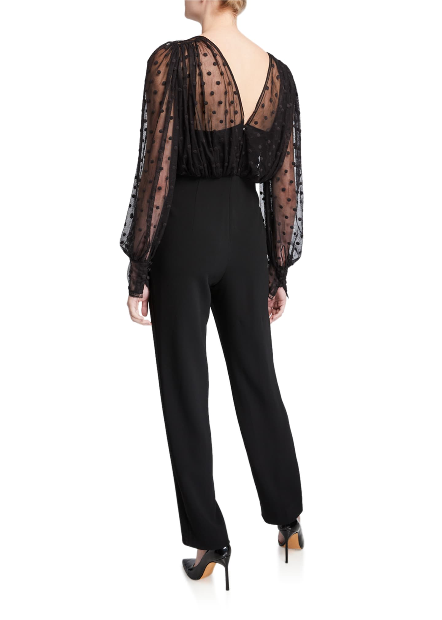 Image 2 of 2: Bernadette Dotted Mesh Overlay Jumpsuit
