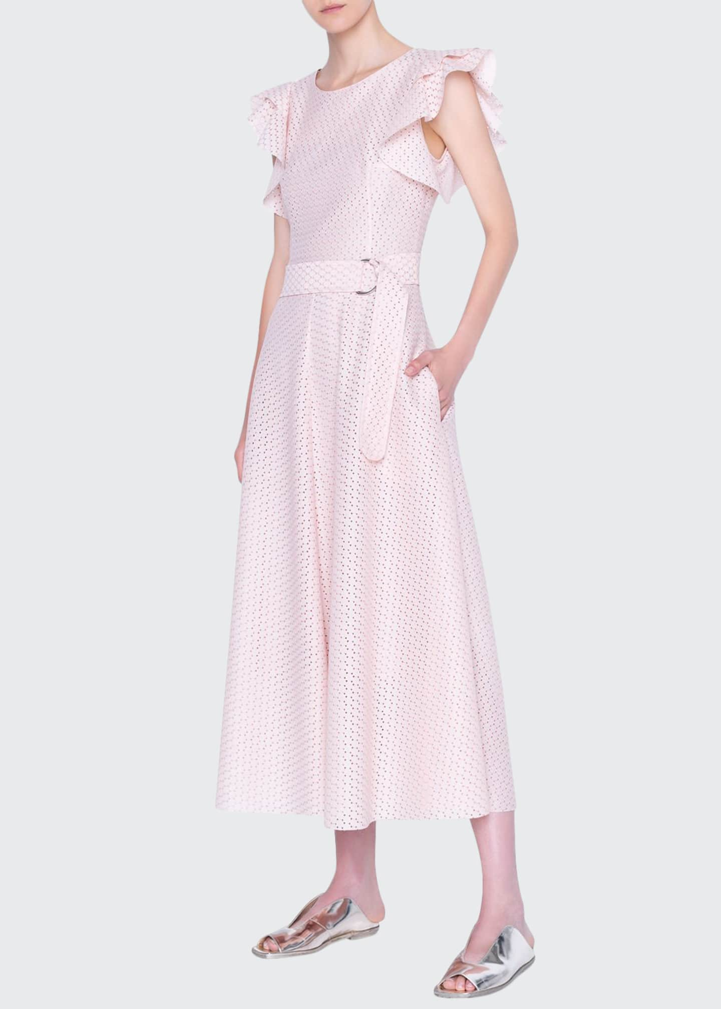 Akris punto Signature Dotted Flutter-Sleeve Belted Dress