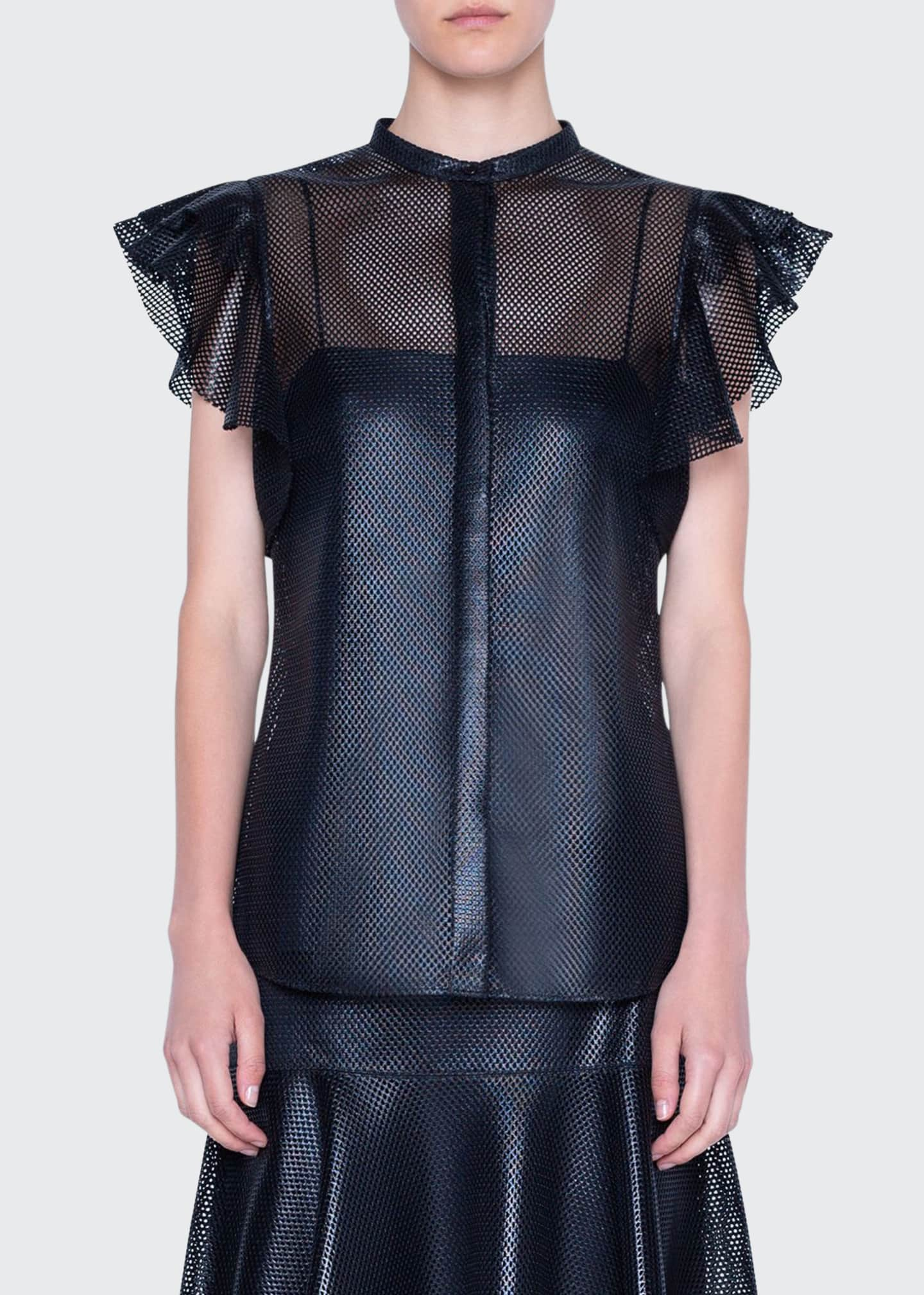 Akris punto Lacquered Lace Flutter-Sleeve Shirt
