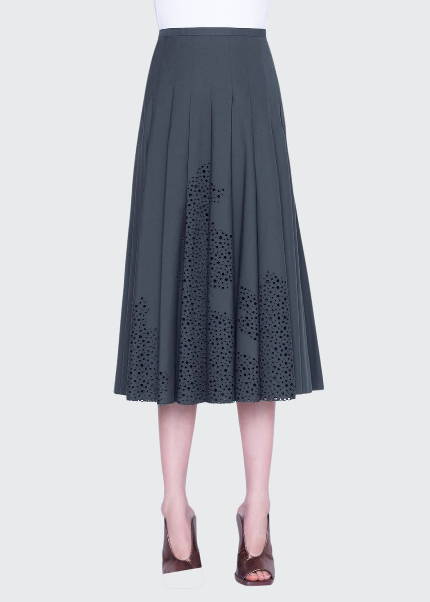 Akris punto Broderie Anglaise Bell-Shaped Midi Skirt