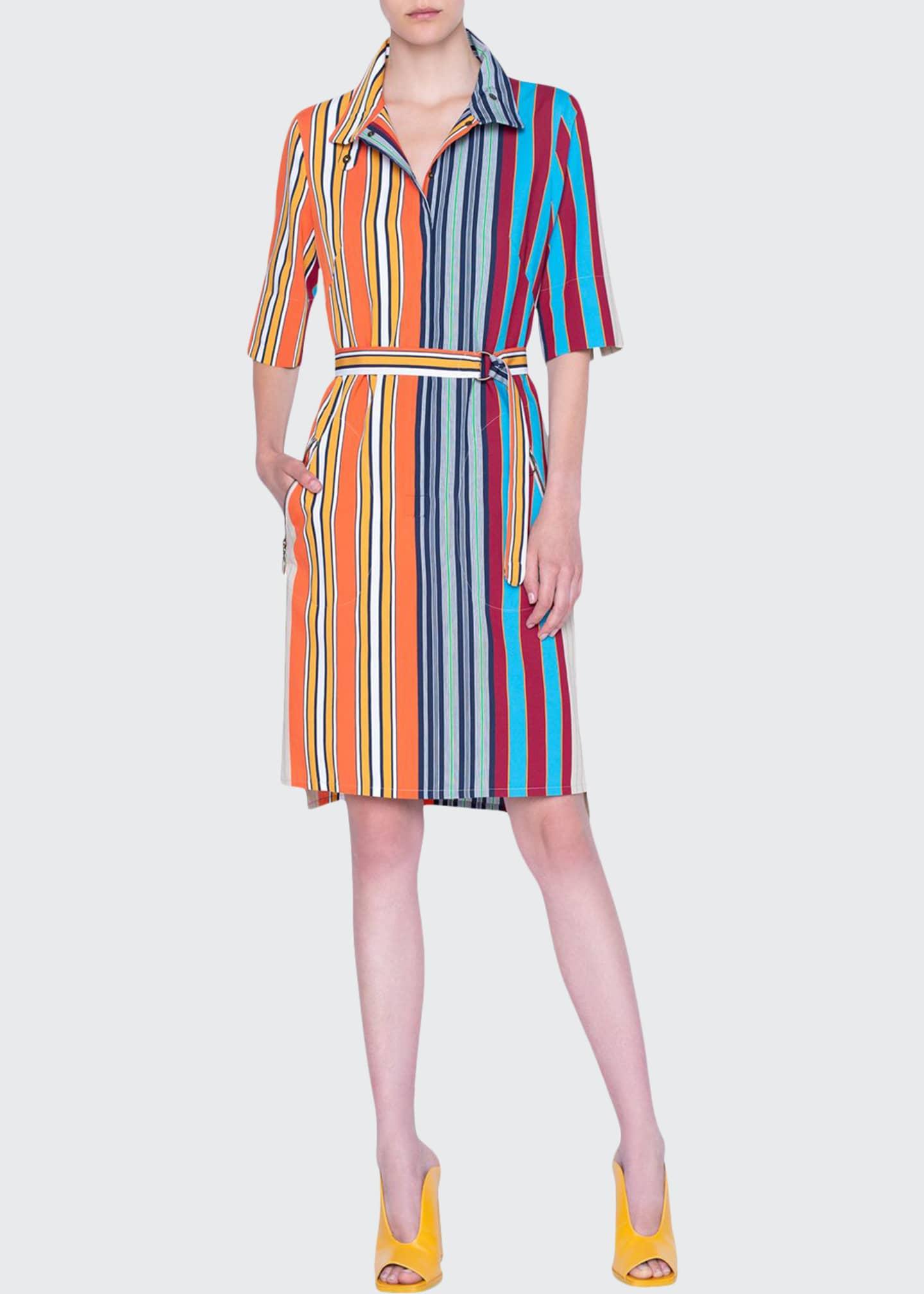 Akris punto Parasol Striped Half-Sleeve Belted Shirtdress