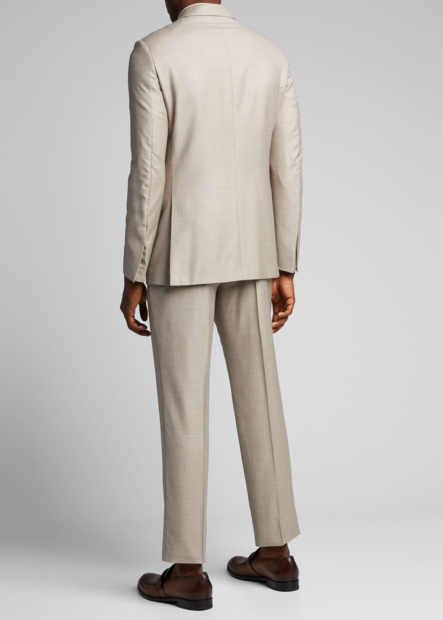 Image 2 of 5: Men's Heathered Solid Regular-Fit Wool Two-Piece Suit