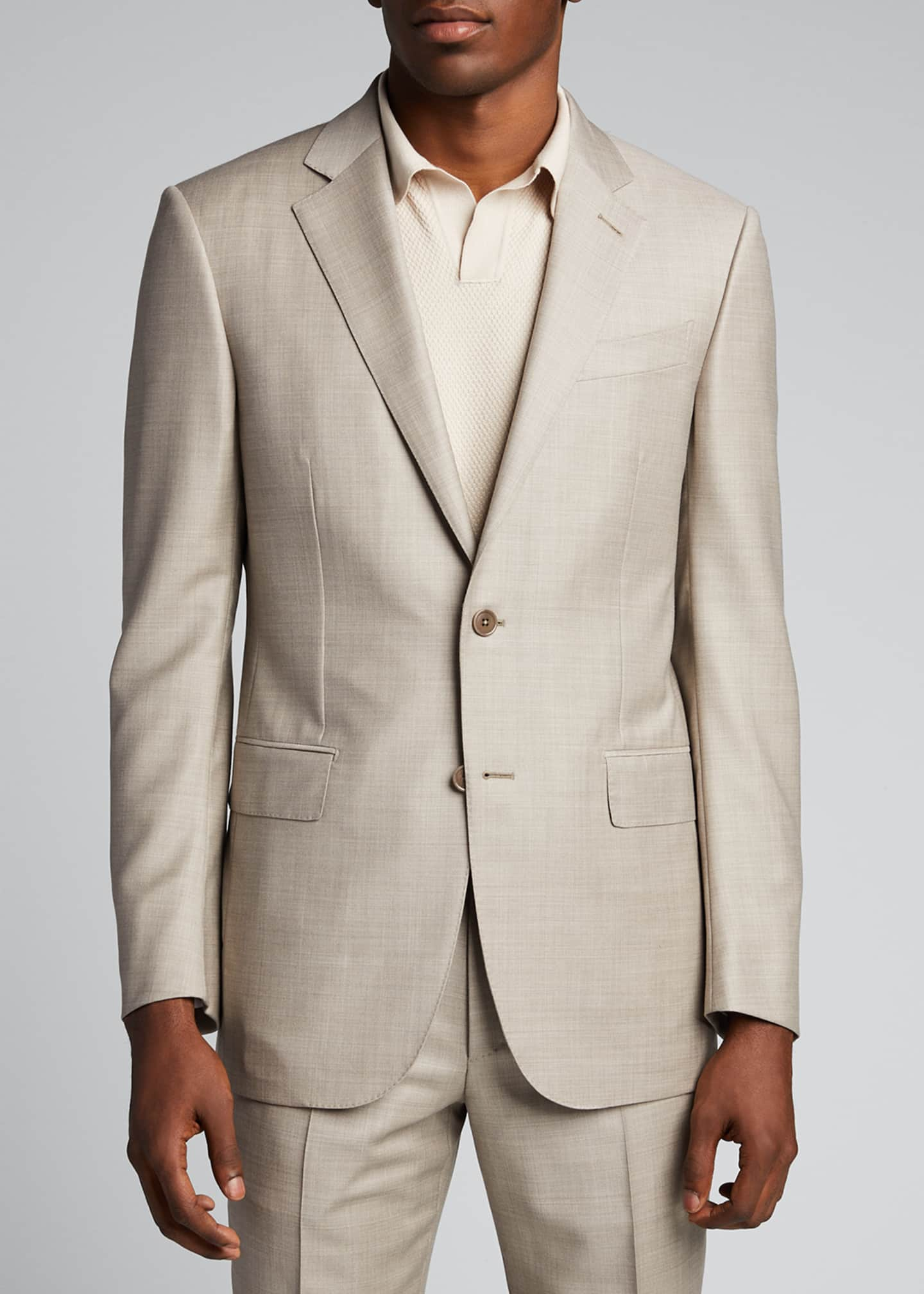 Image 3 of 5: Men's Heathered Solid Regular-Fit Wool Two-Piece Suit