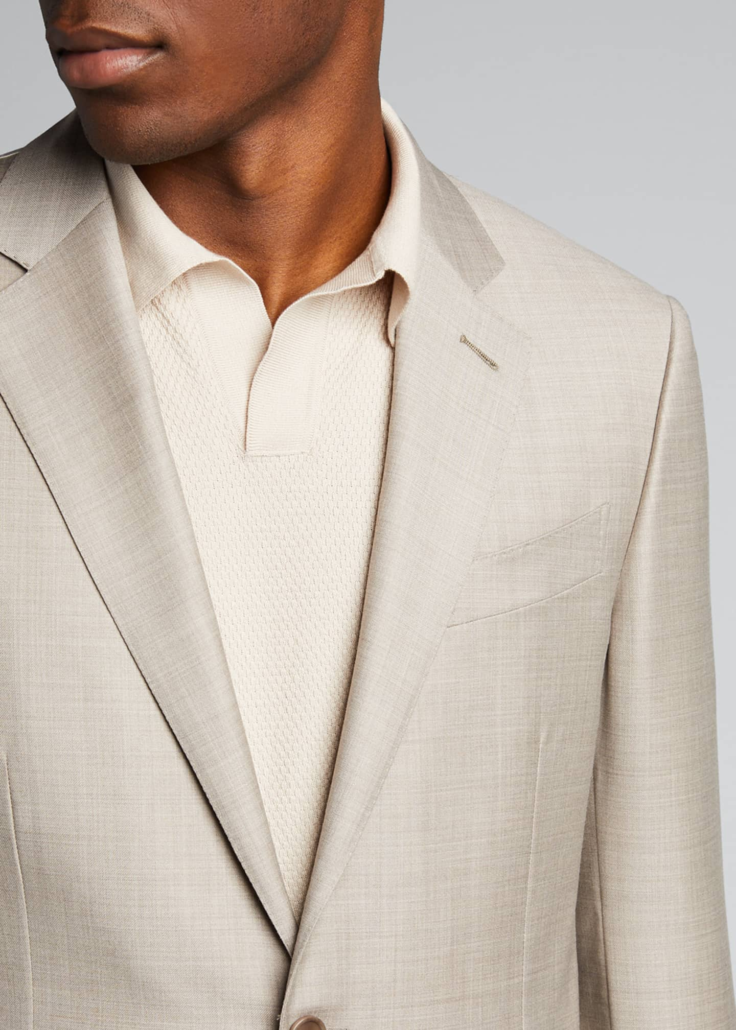Image 4 of 5: Men's Heathered Solid Regular-Fit Wool Two-Piece Suit
