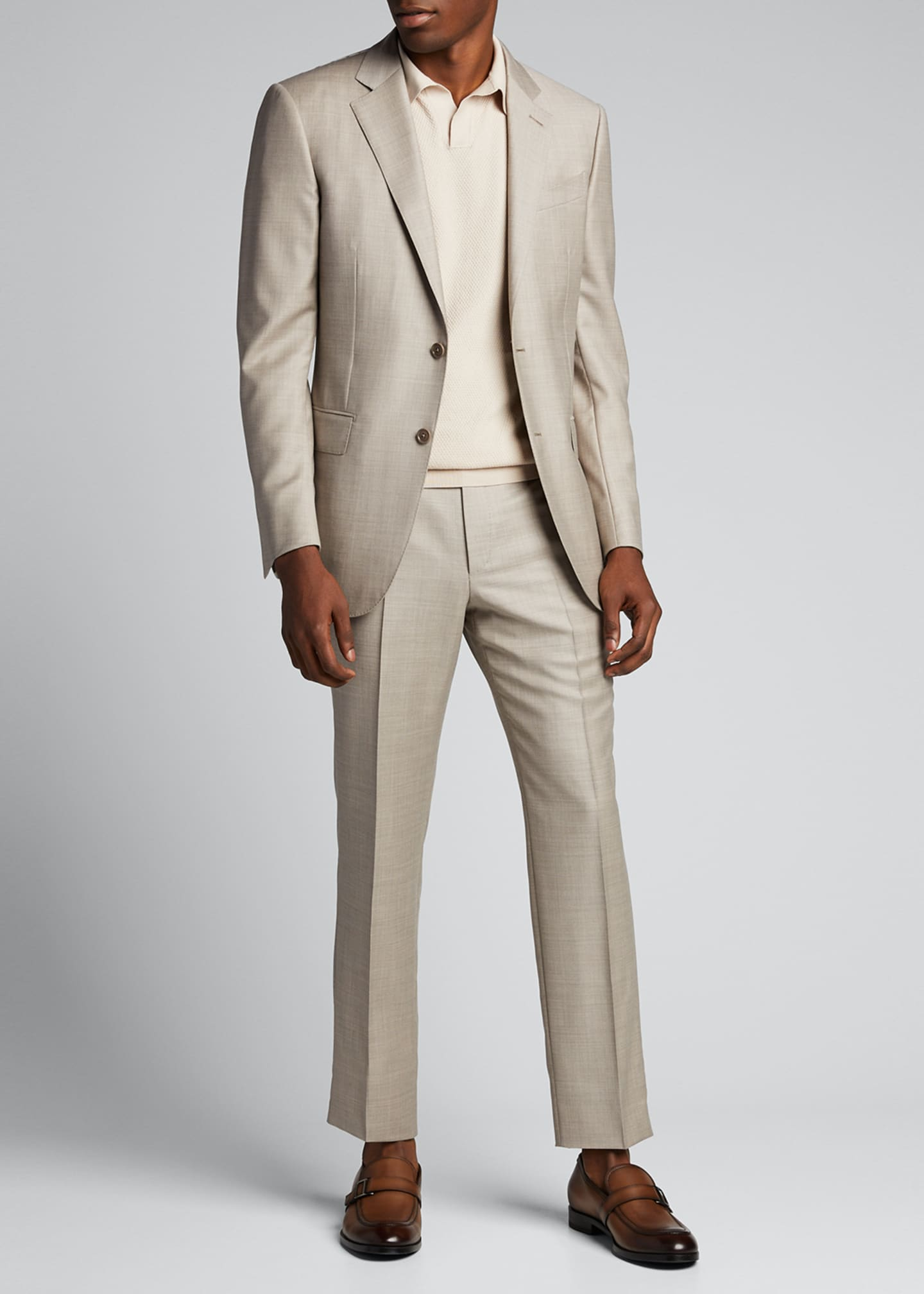 Image 1 of 5: Men's Heathered Solid Regular-Fit Wool Two-Piece Suit
