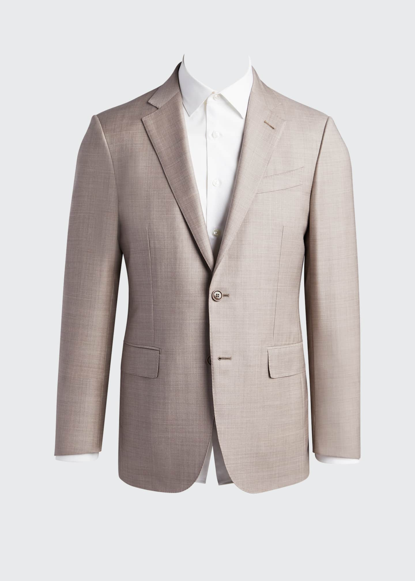Image 5 of 5: Men's Heathered Solid Regular-Fit Wool Two-Piece Suit