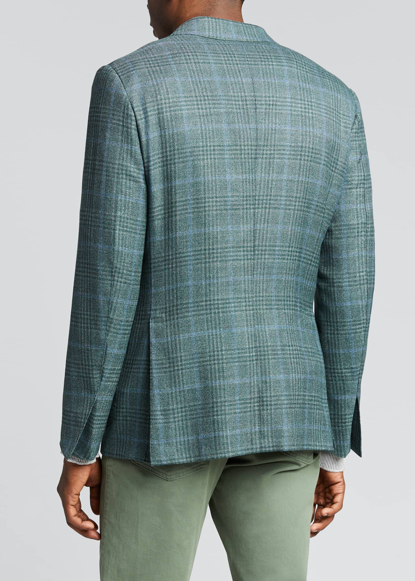 Image 2 of 5: Men's Plaid Two-Button Patch-Pocket Regular-Fit Jacket