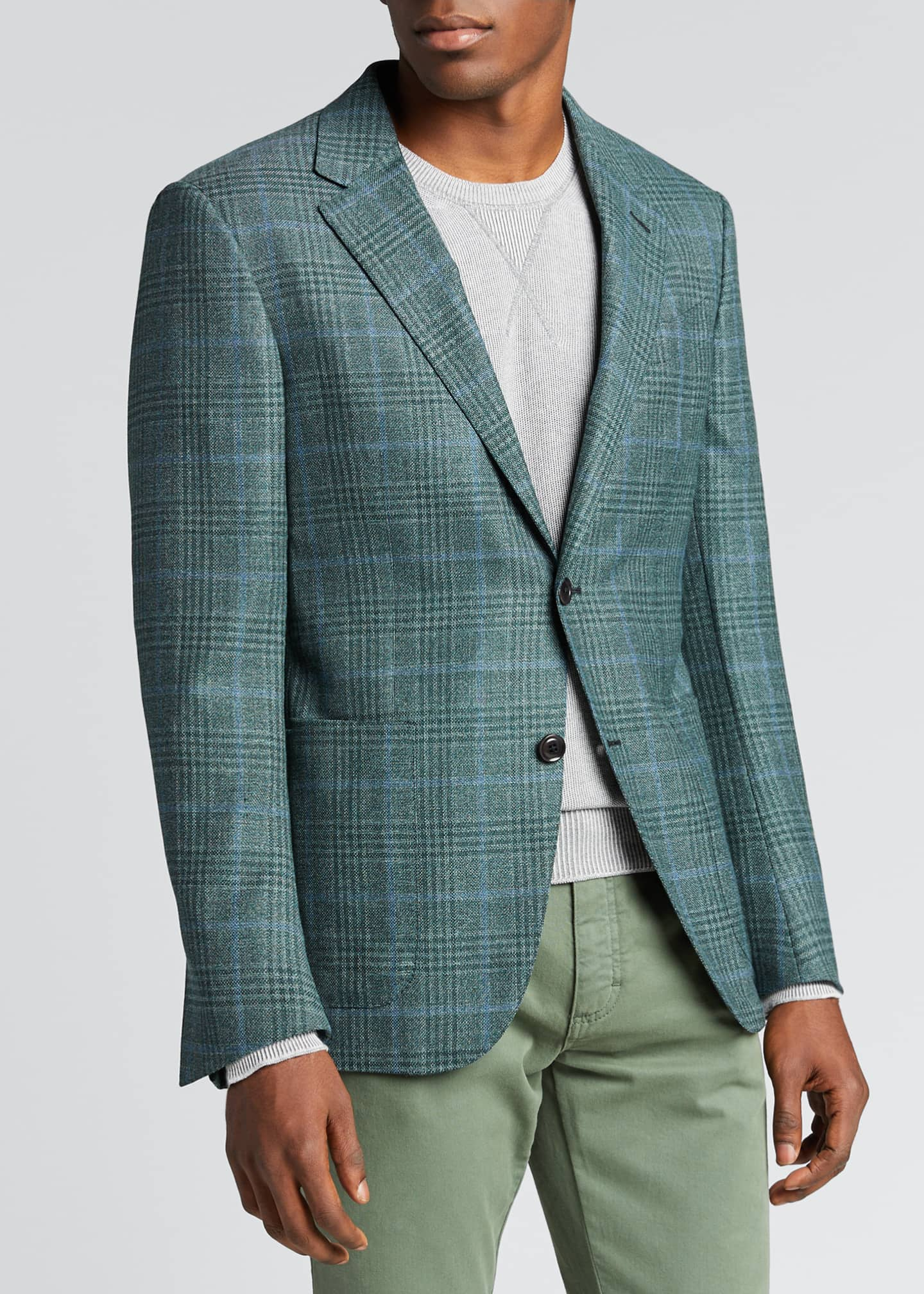 Image 3 of 5: Men's Plaid Two-Button Patch-Pocket Regular-Fit Jacket