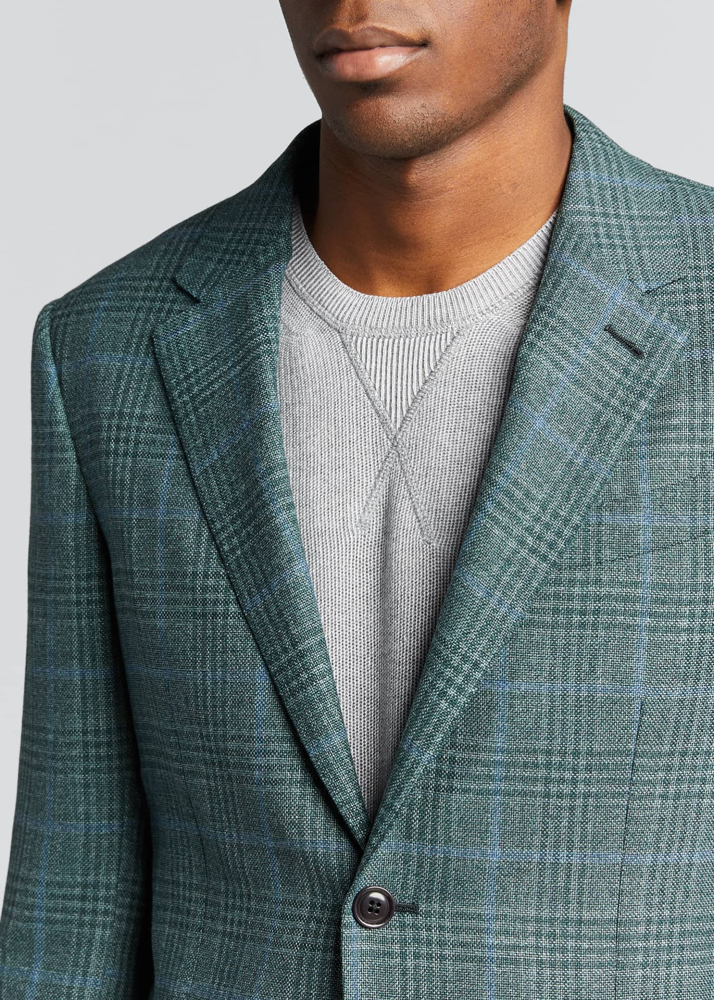 Image 4 of 5: Men's Plaid Two-Button Patch-Pocket Regular-Fit Jacket