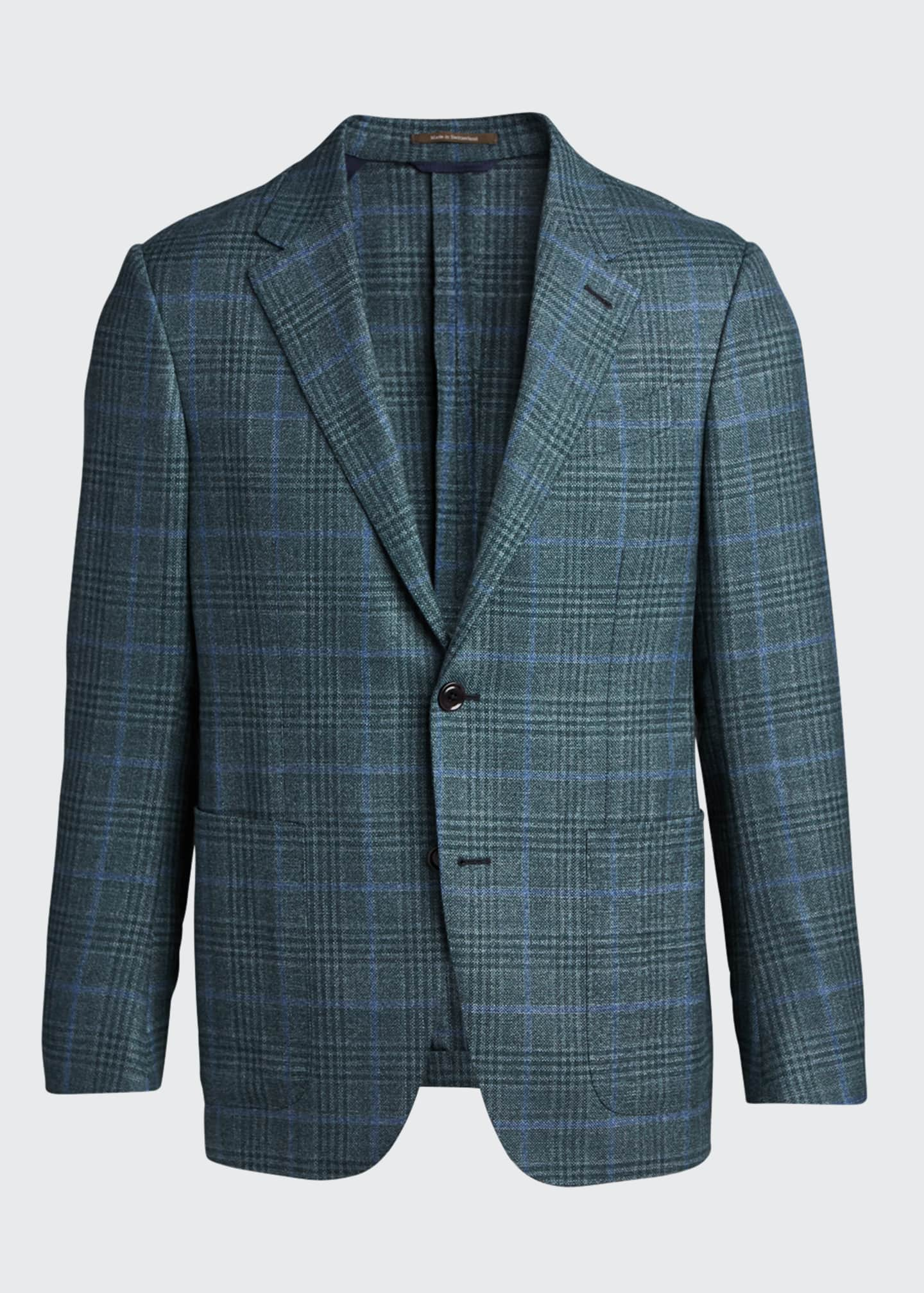 Image 5 of 5: Men's Plaid Two-Button Patch-Pocket Regular-Fit Jacket