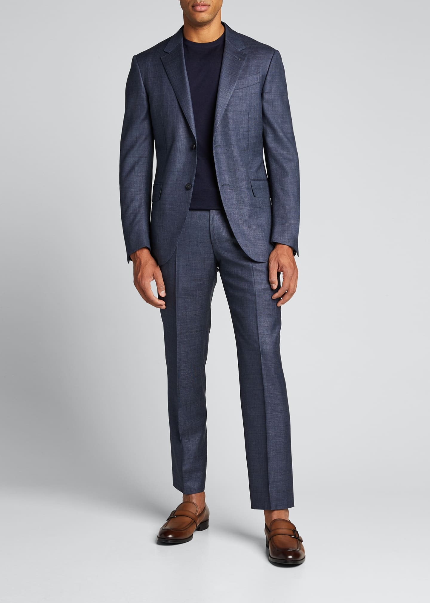 Image 1 of 5: Men's Tic Windowpane Regular-Fit Two-Piece Suit