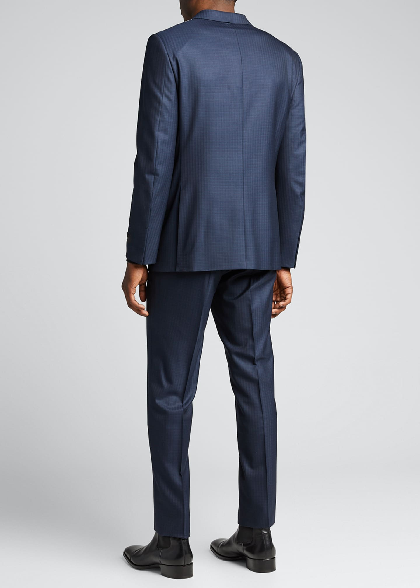 Image 2 of 5: Men's Tonal Check Regular-Fit Wool Two-Piece Suit