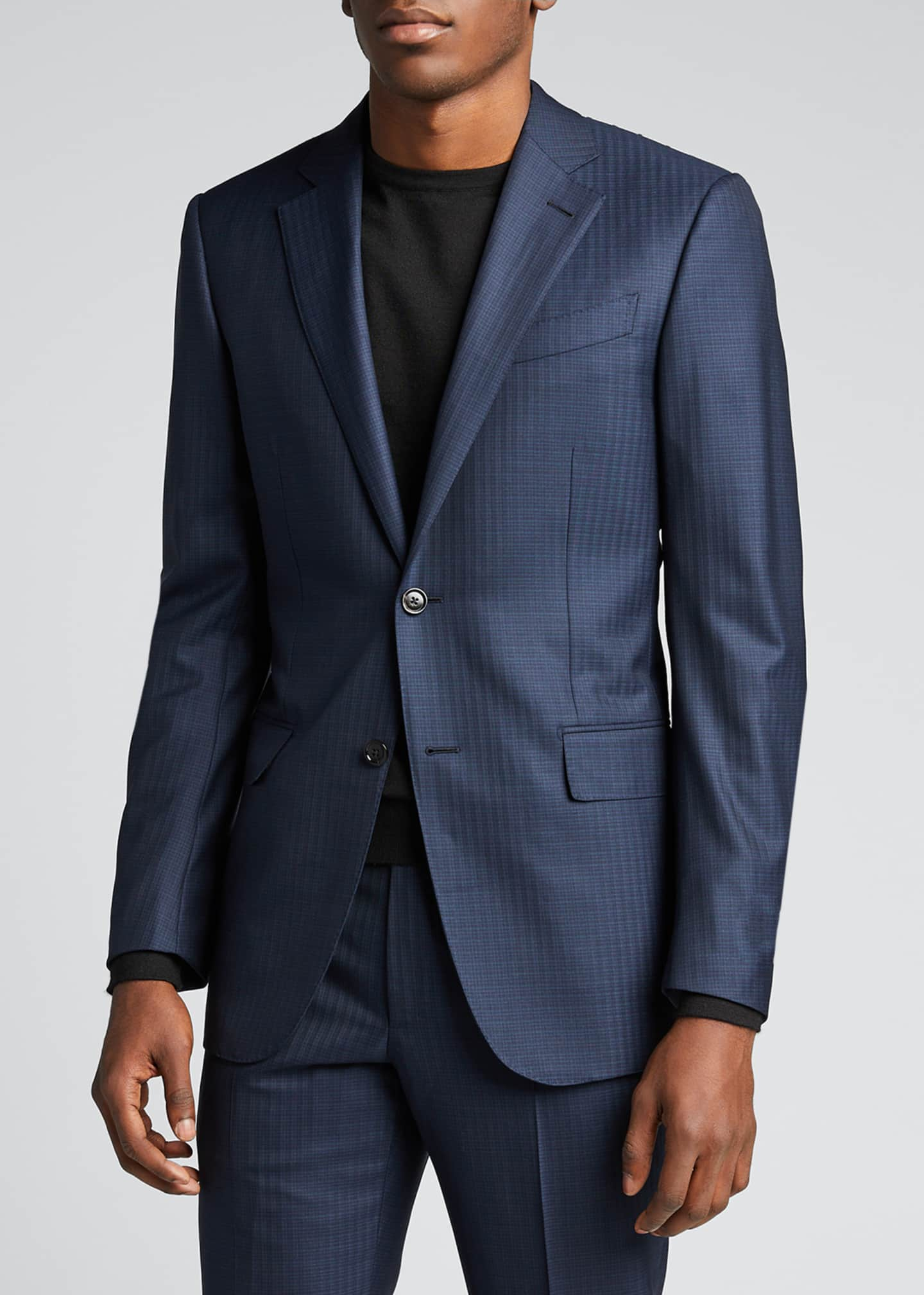 Image 3 of 5: Men's Tonal Check Regular-Fit Wool Two-Piece Suit