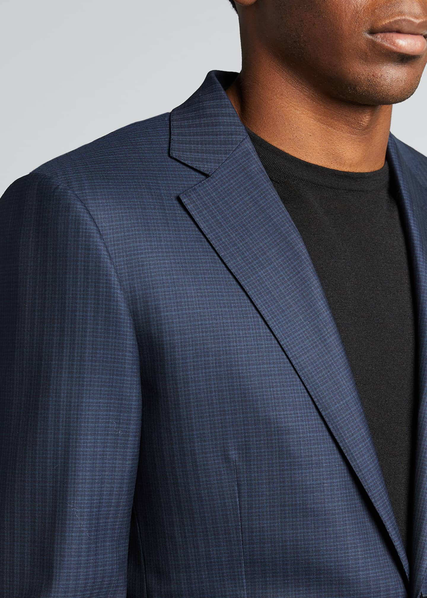 Image 4 of 5: Men's Tonal Check Regular-Fit Wool Two-Piece Suit