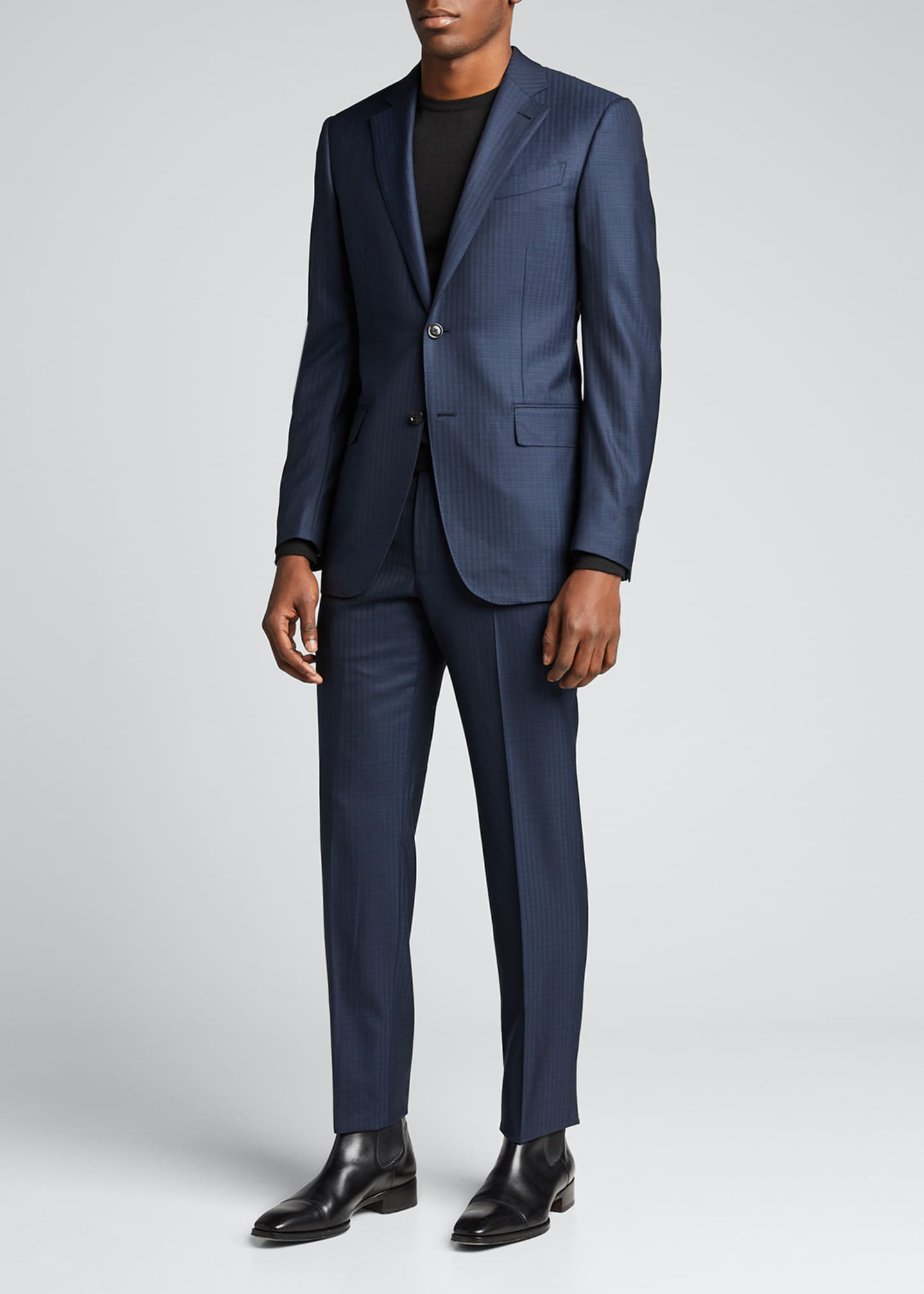 Image 1 of 5: Men's Tonal Check Regular-Fit Wool Two-Piece Suit