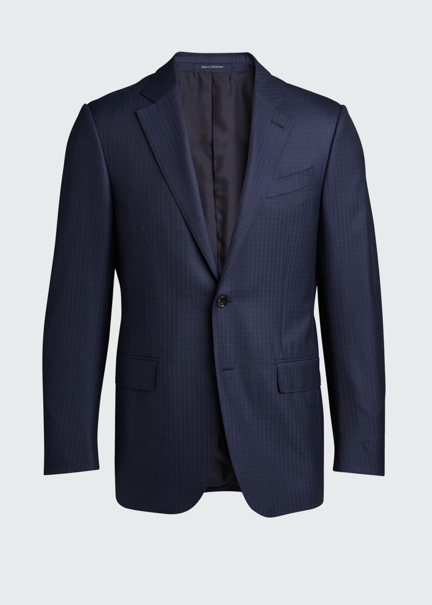 Image 5 of 5: Men's Tonal Check Regular-Fit Wool Two-Piece Suit