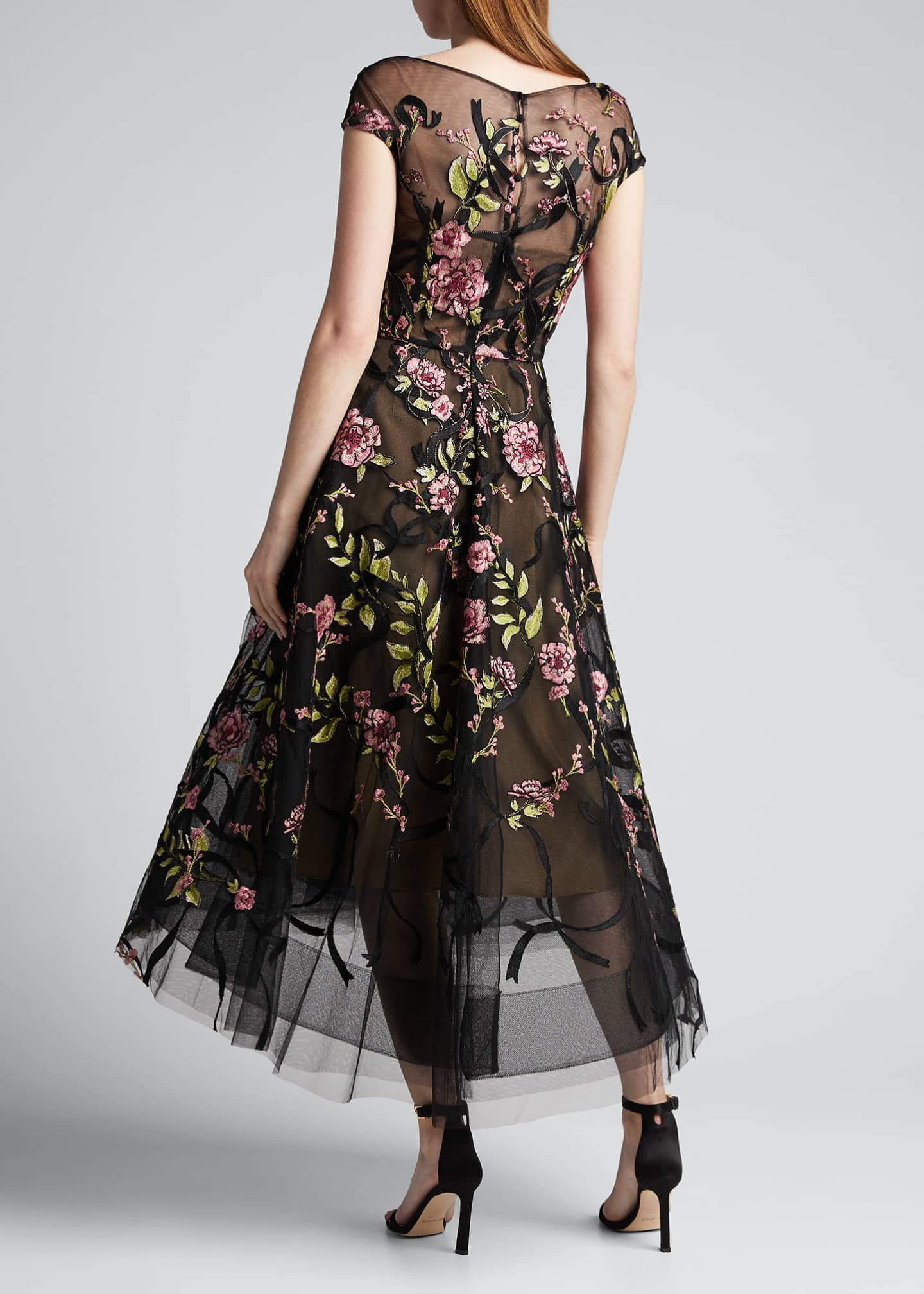 Image 2 of 5: Floral-Embroidered Ribbon-Waist Tea Length Dress