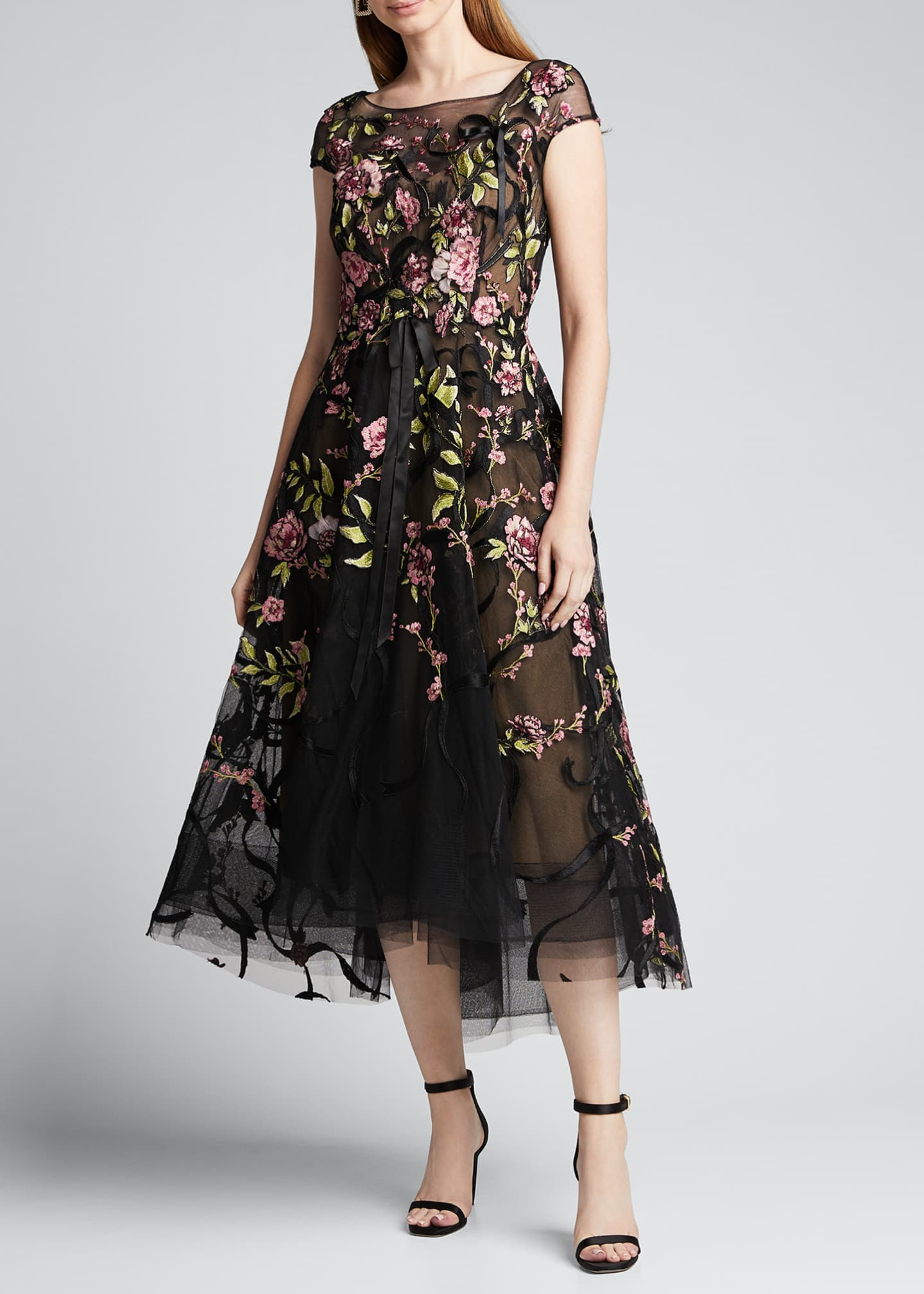 Image 3 of 5: Floral-Embroidered Ribbon-Waist Tea Length Dress