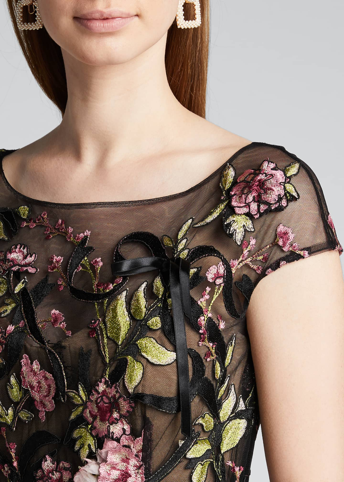 Image 4 of 5: Floral-Embroidered Ribbon-Waist Tea Length Dress