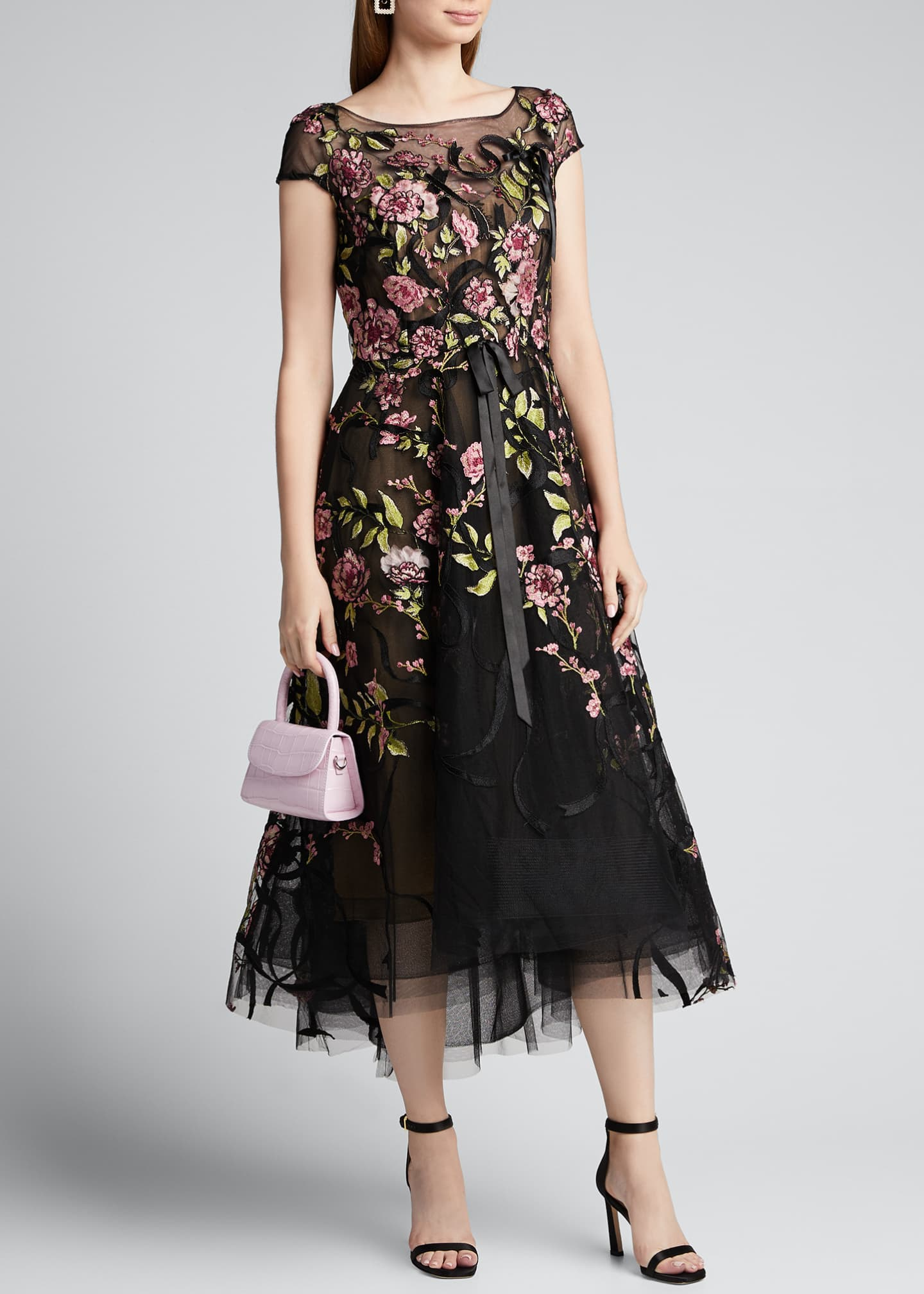 Image 1 of 5: Floral-Embroidered Ribbon-Waist Tea Length Dress