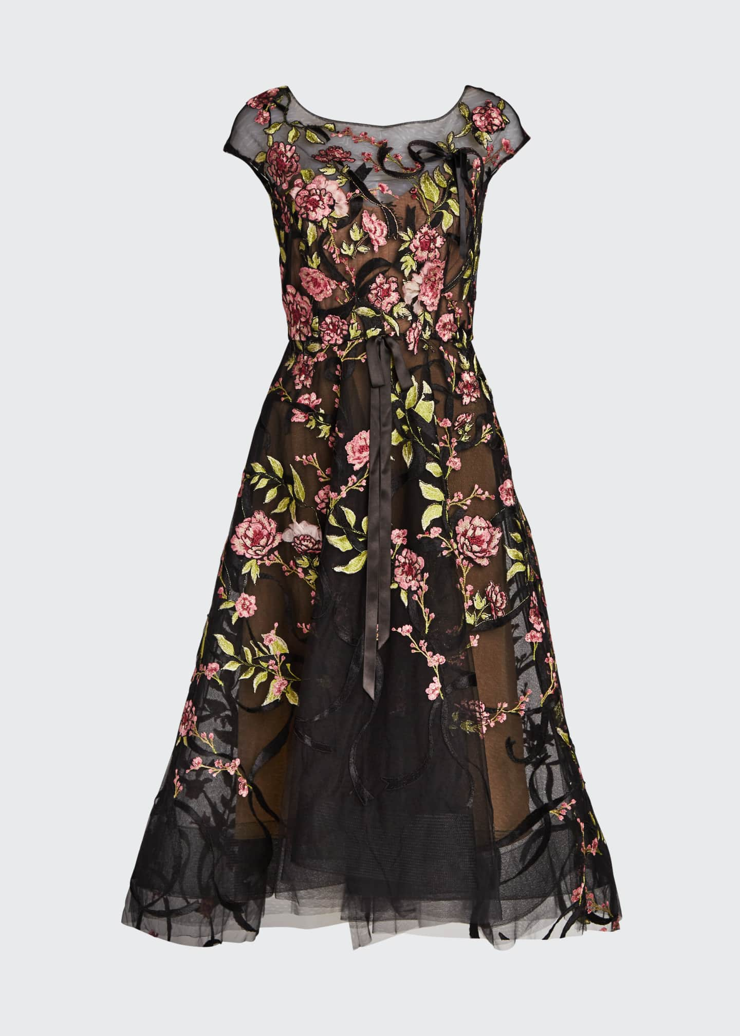 Image 5 of 5: Floral-Embroidered Ribbon-Waist Tea Length Dress