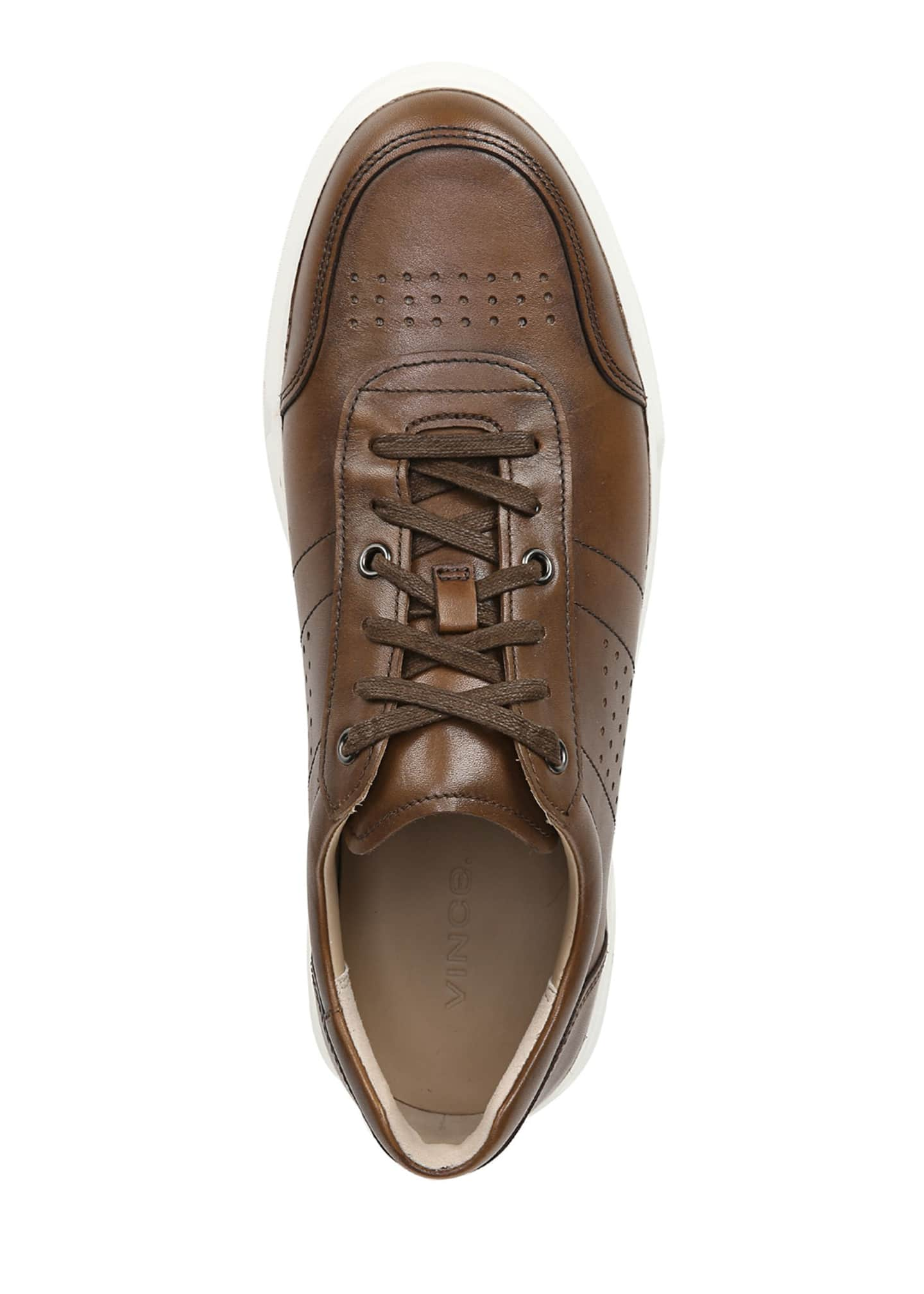 Image 2 of 5: Men's Barnett Perforated Leather Low-Top Sneakers