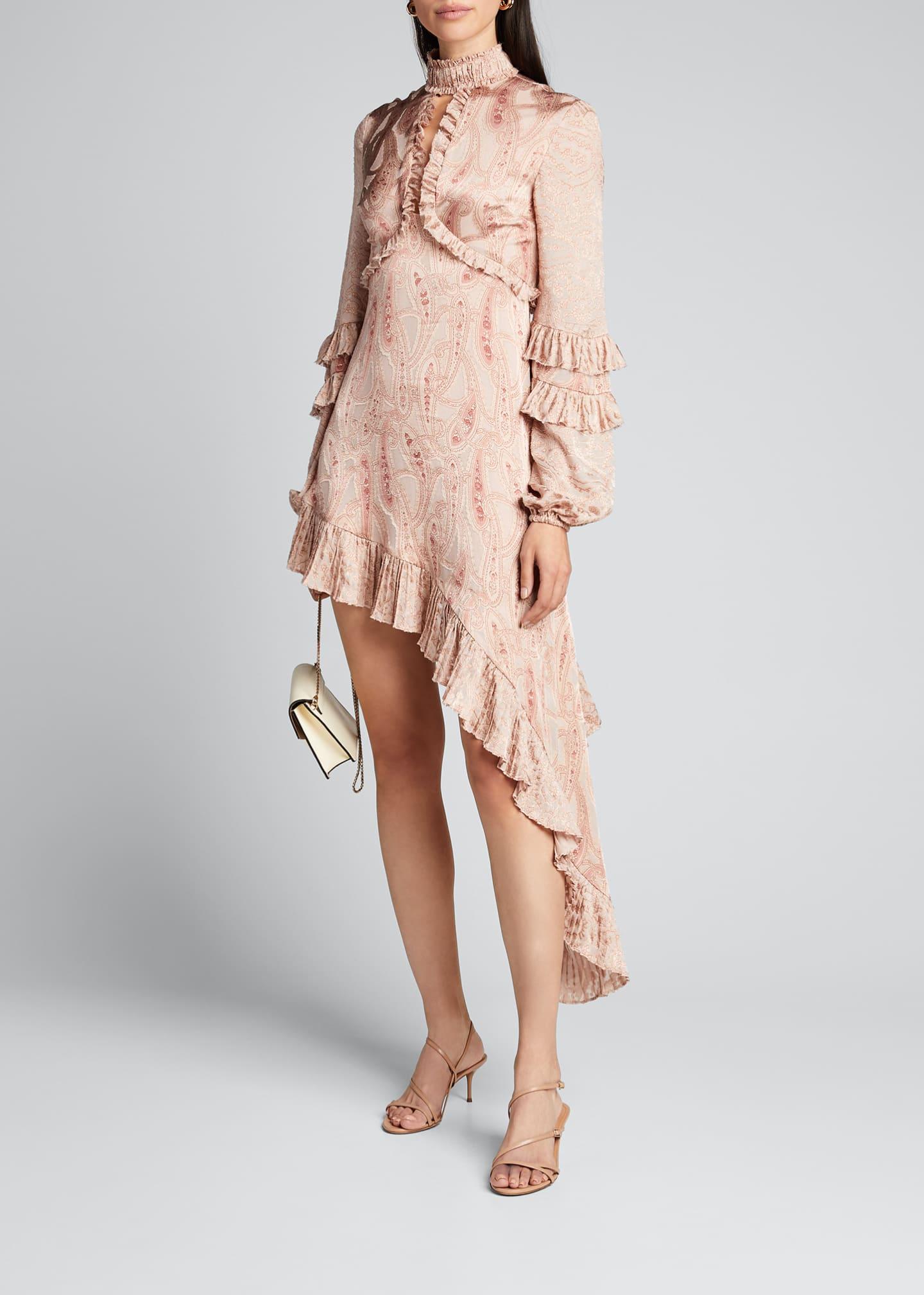 Alexis Liora Asymmetric Paisley Ruffle Dress