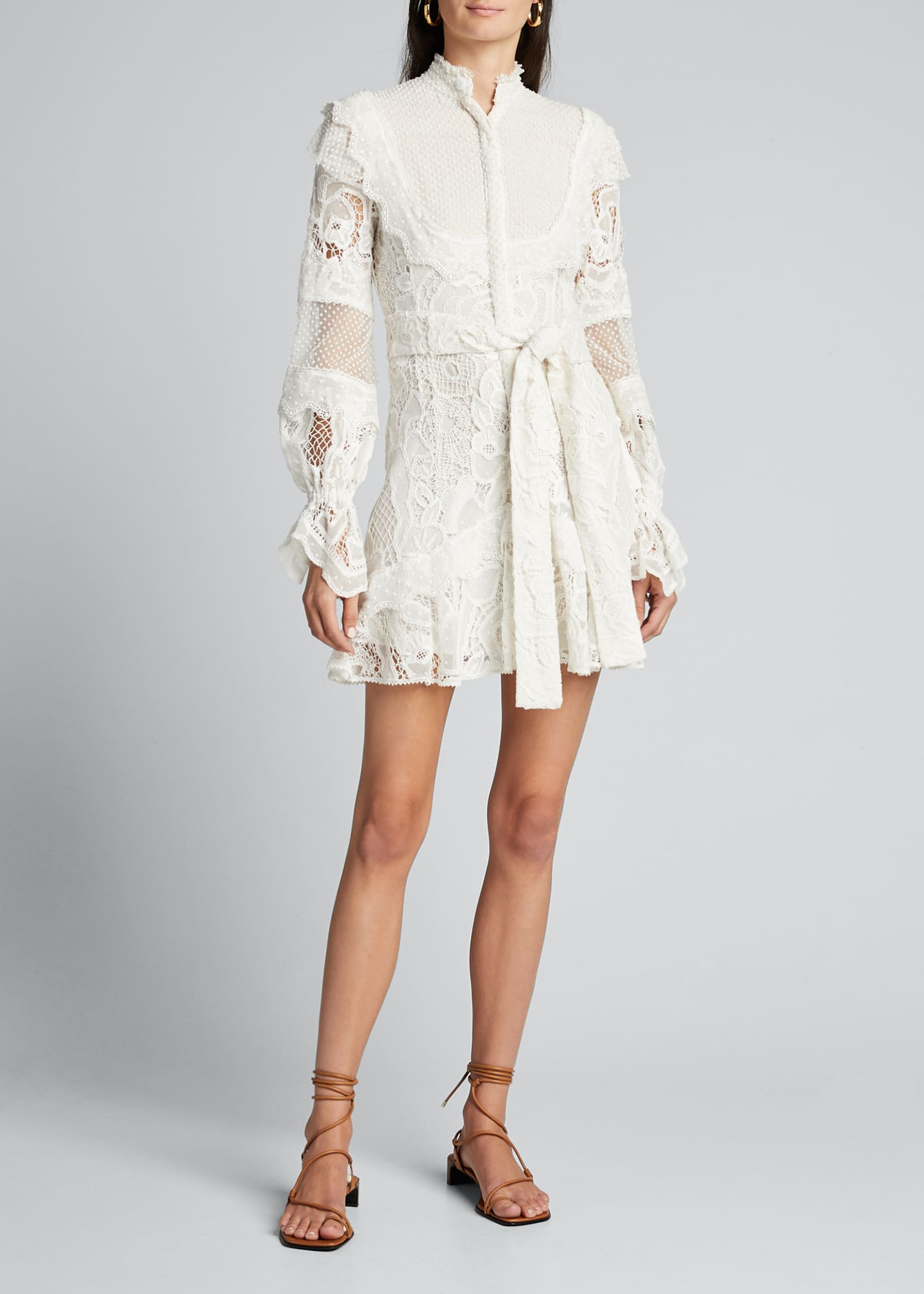 Image 3 of 4: Shanna High-Neck Lace Short Dress
