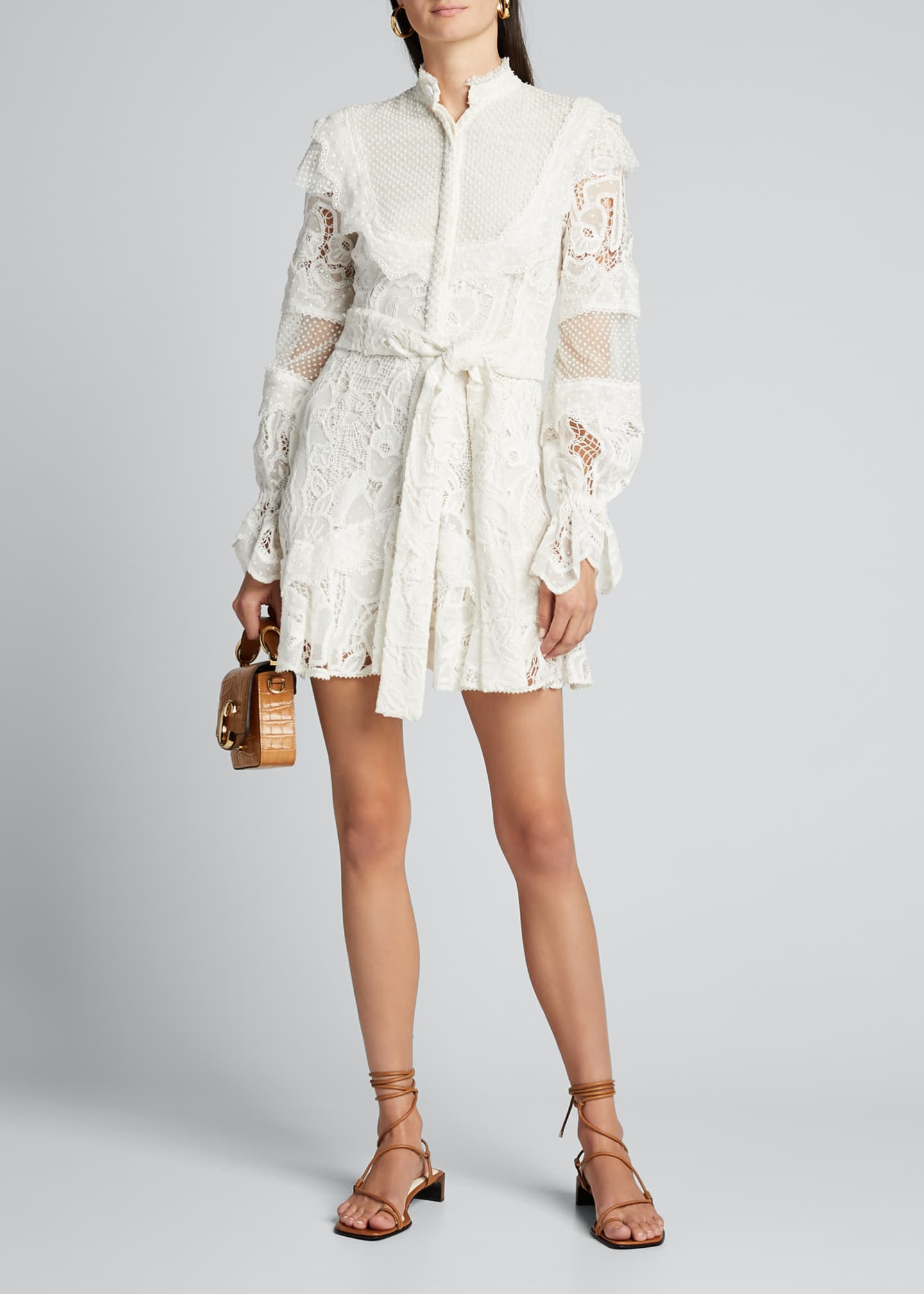 Image 1 of 4: Shanna High-Neck Lace Short Dress