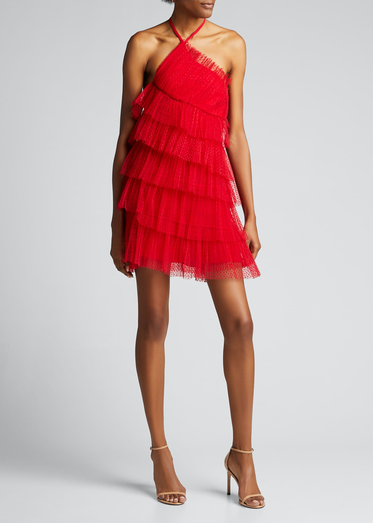 Image 3 of 5: Raina Tiered Tulle Halter Dress
