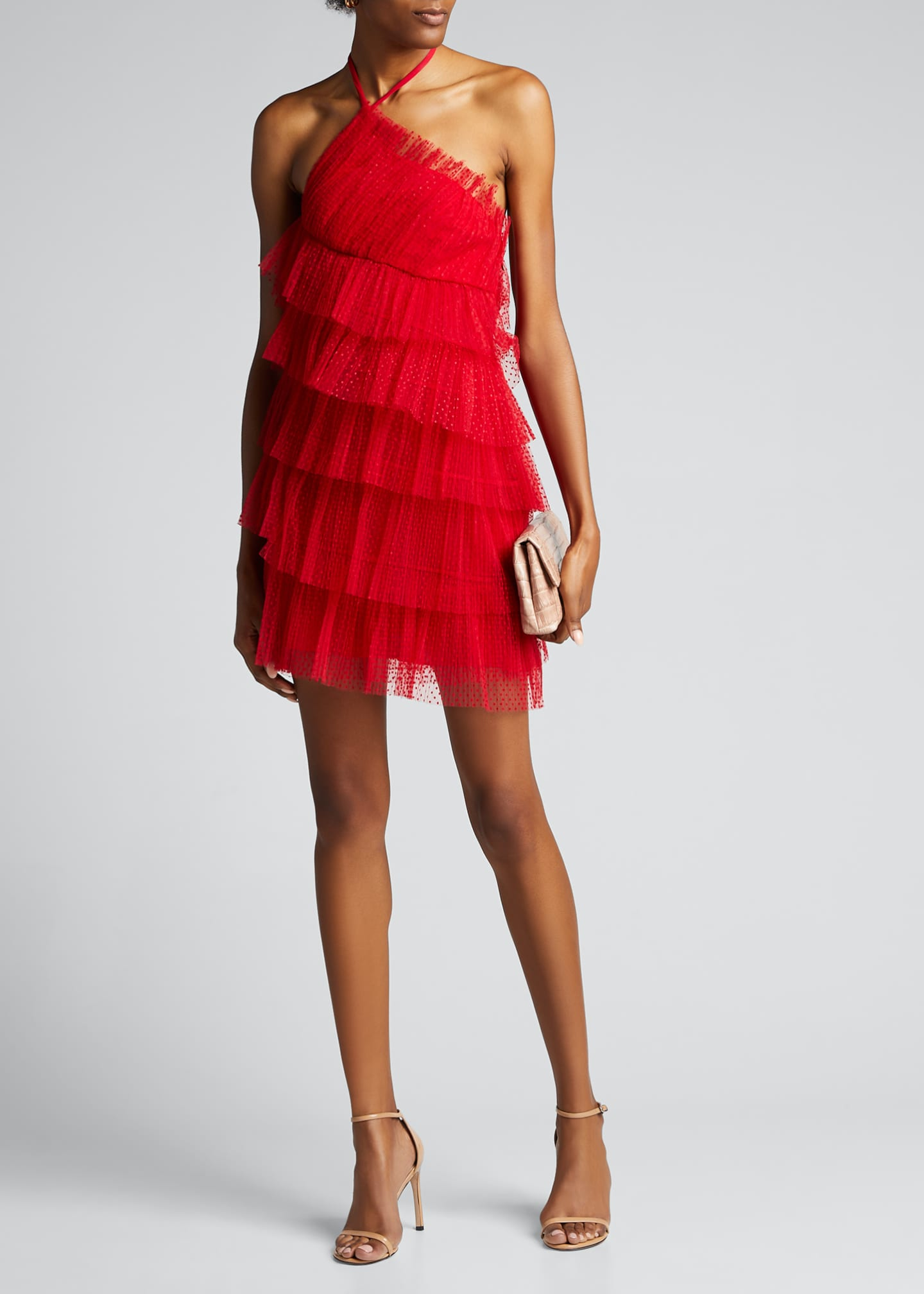 Image 1 of 5: Raina Tiered Tulle Halter Dress