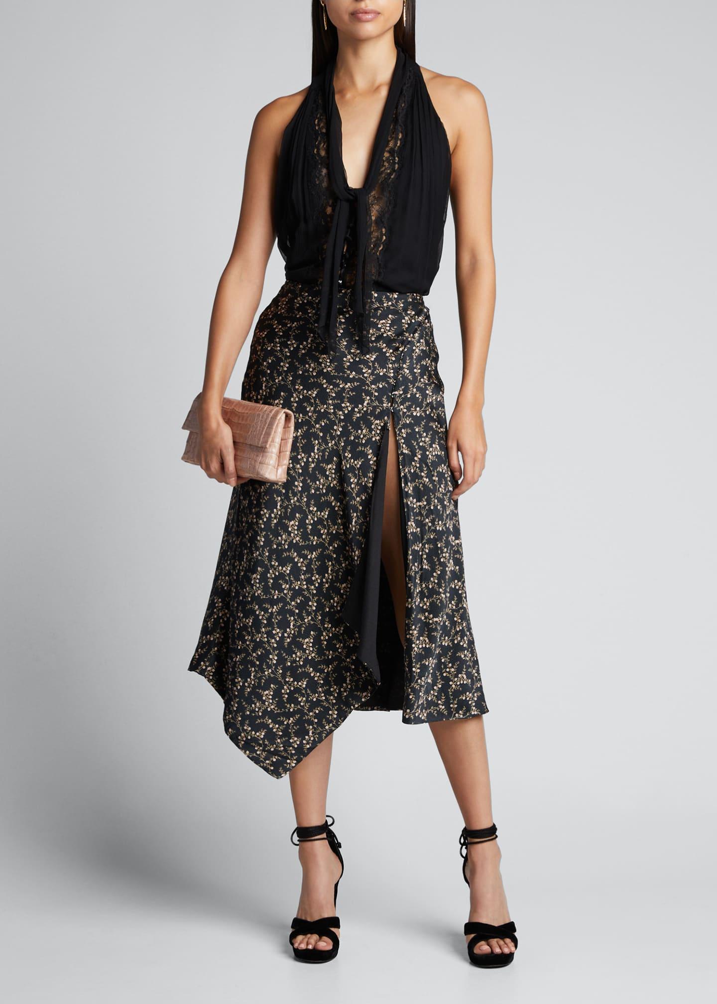 Jonathan Simkhai Collection Tie-Neck Lace Sleeveless Top