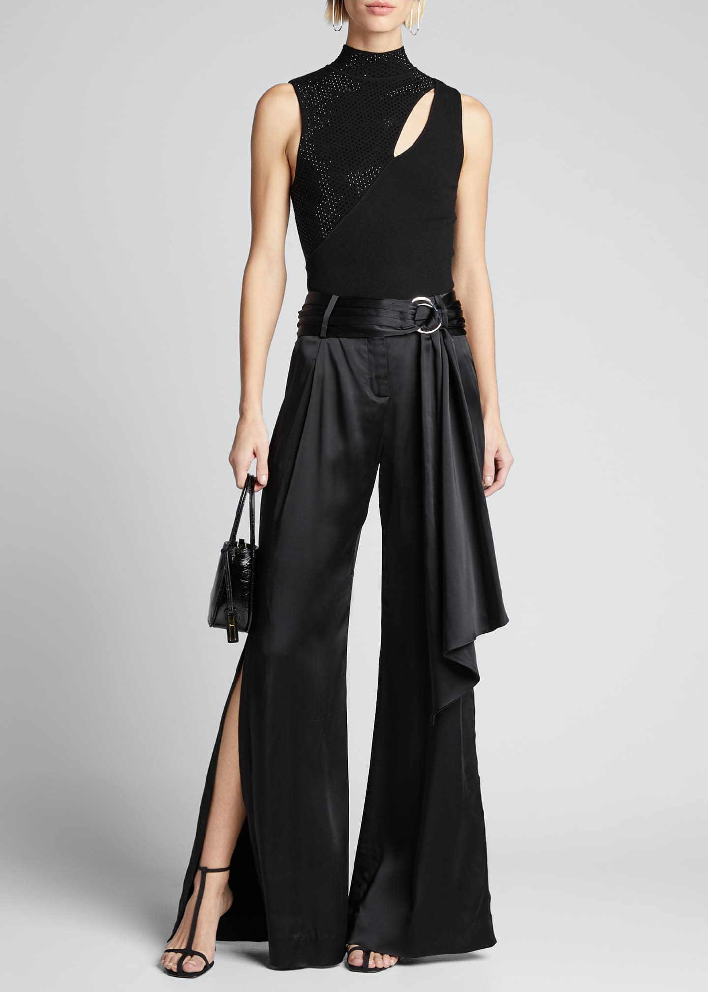 Jonathan Simkhai Fluid Satin Wide-Leg Pants with Sash